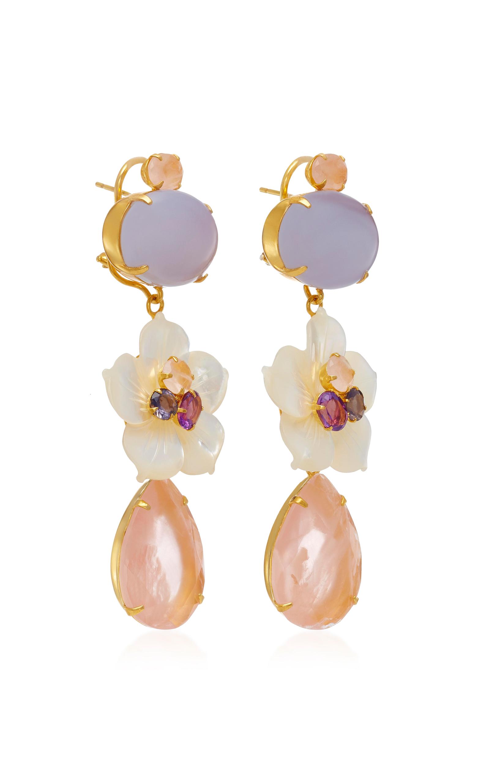 14K Gold-Plated Brass Chalcedony Mother of Pearl Amethyst Lolite Rose Quartz Earrings Bounkit 9ylJU