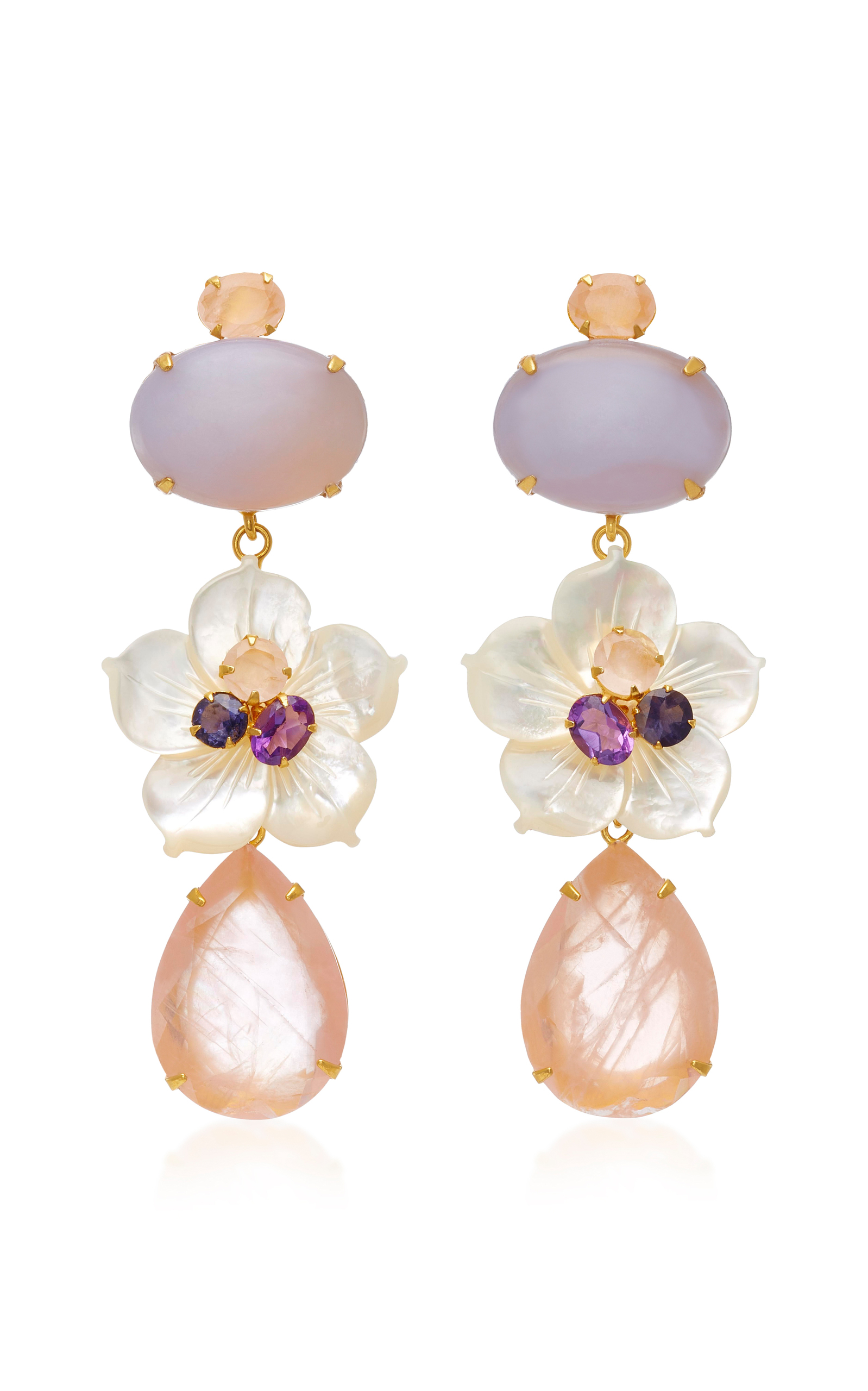 14K Gold-Plated Brass Chalcedony Mother of Pearl Amethyst Lolite Rose Quartz Earrings Bounkit BtRXha