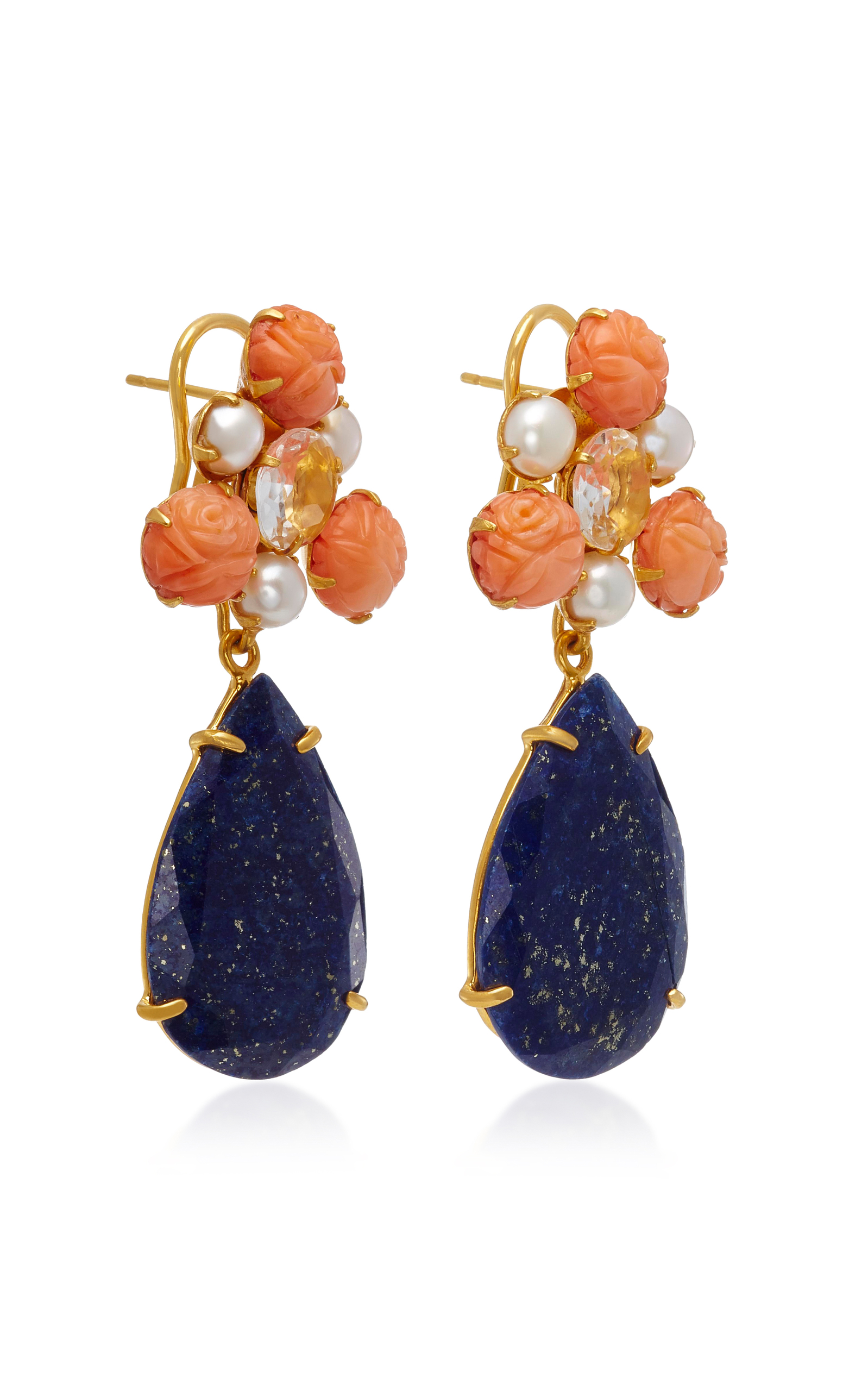 Gold-Plated Carved Bamboo Coral Pearl Clear Quartz and Lapis Earrings Bounkit 6Jt6iug41
