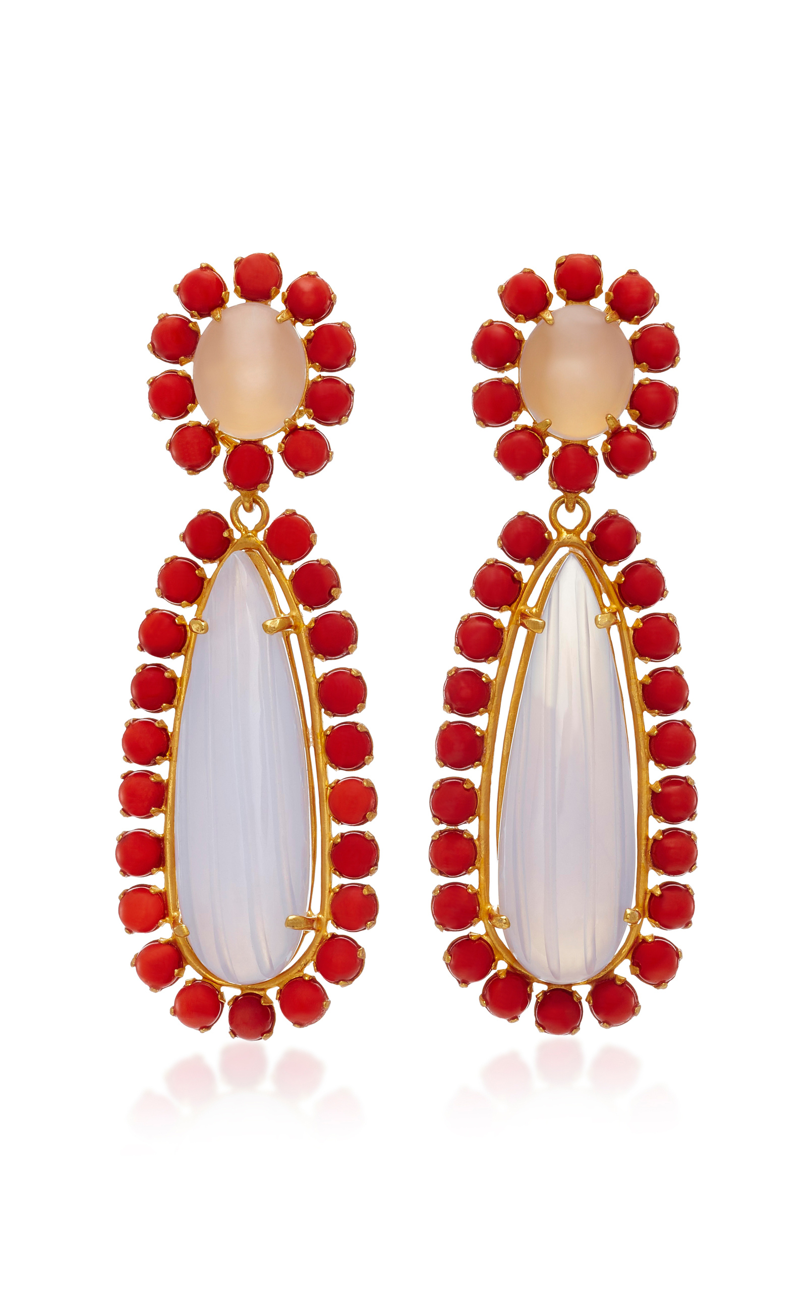 BOUNKIT 14K GOLD-PLATED CHALCEDONY AND RED CORAL DROP EARRINGS