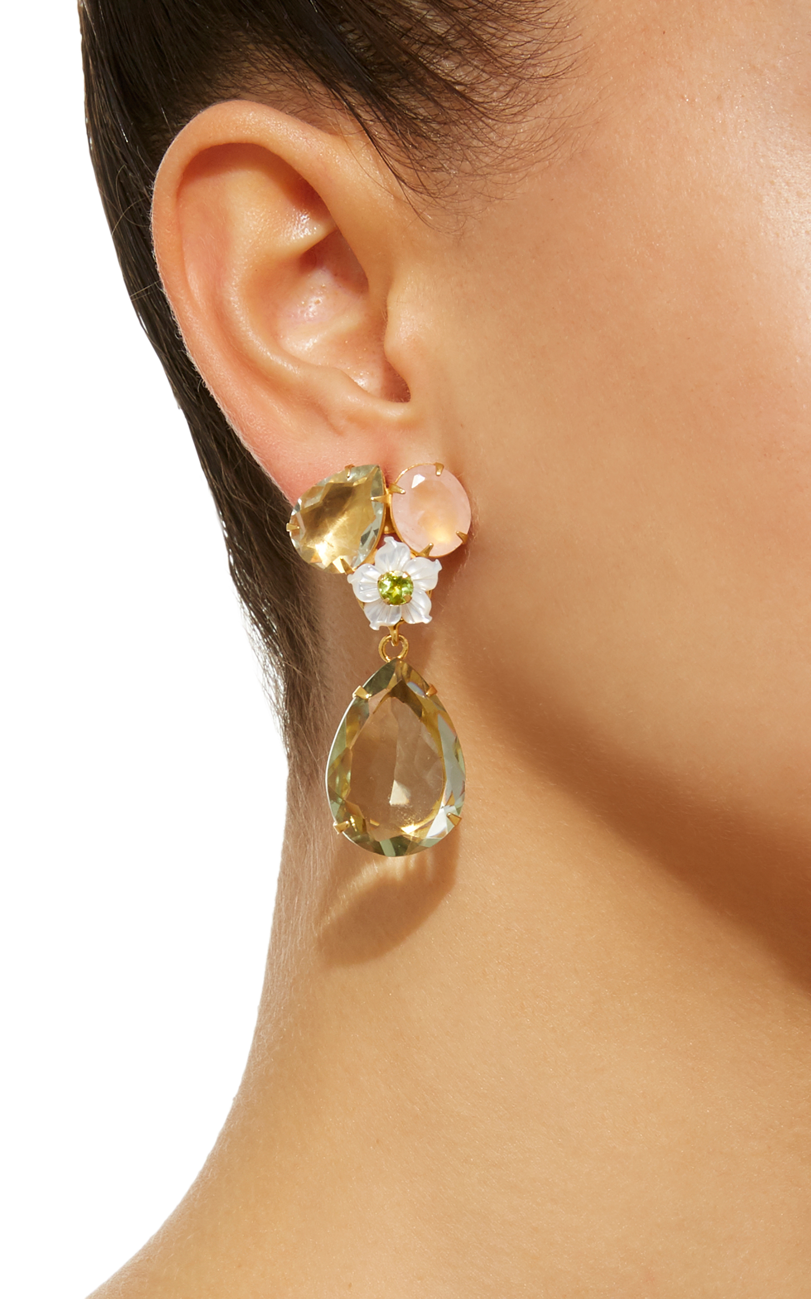 14K Gold-Plated Brass Rose Quartz Green Amethyst White Mother of Pearl Earrings Bounkit opE9W