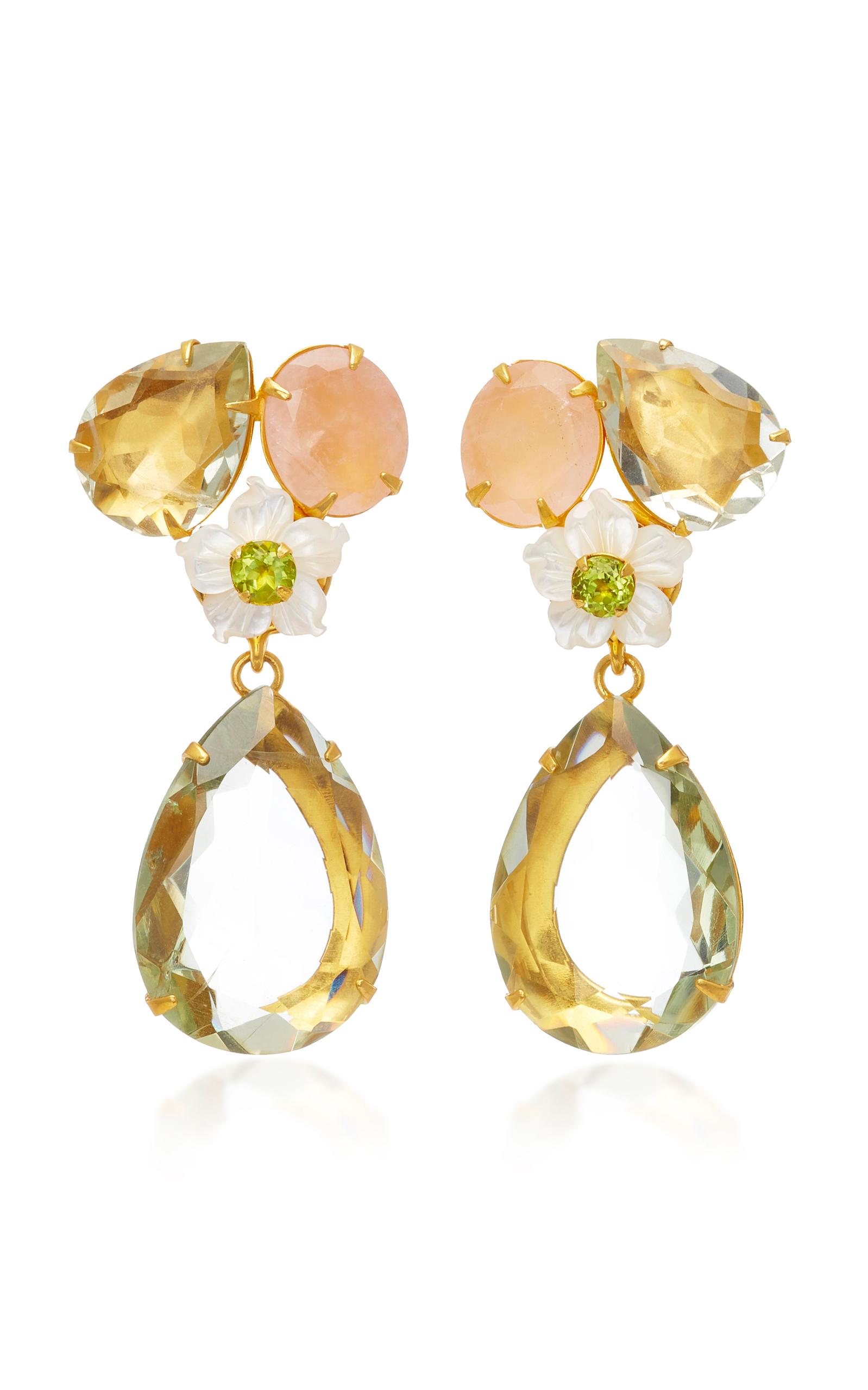 BOUNKIT 14K GOLD-PLATED BRASS ROSE QUARTZ GREEN AMETHYST WHITE MOTHER OF PEARL EARRINGS
