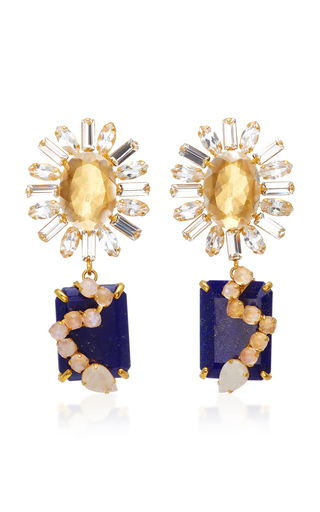 Gold-Plated Carved Bamboo Coral Pearl Clear Quartz and Lapis Earrings Bounkit 6X4QA6fSv