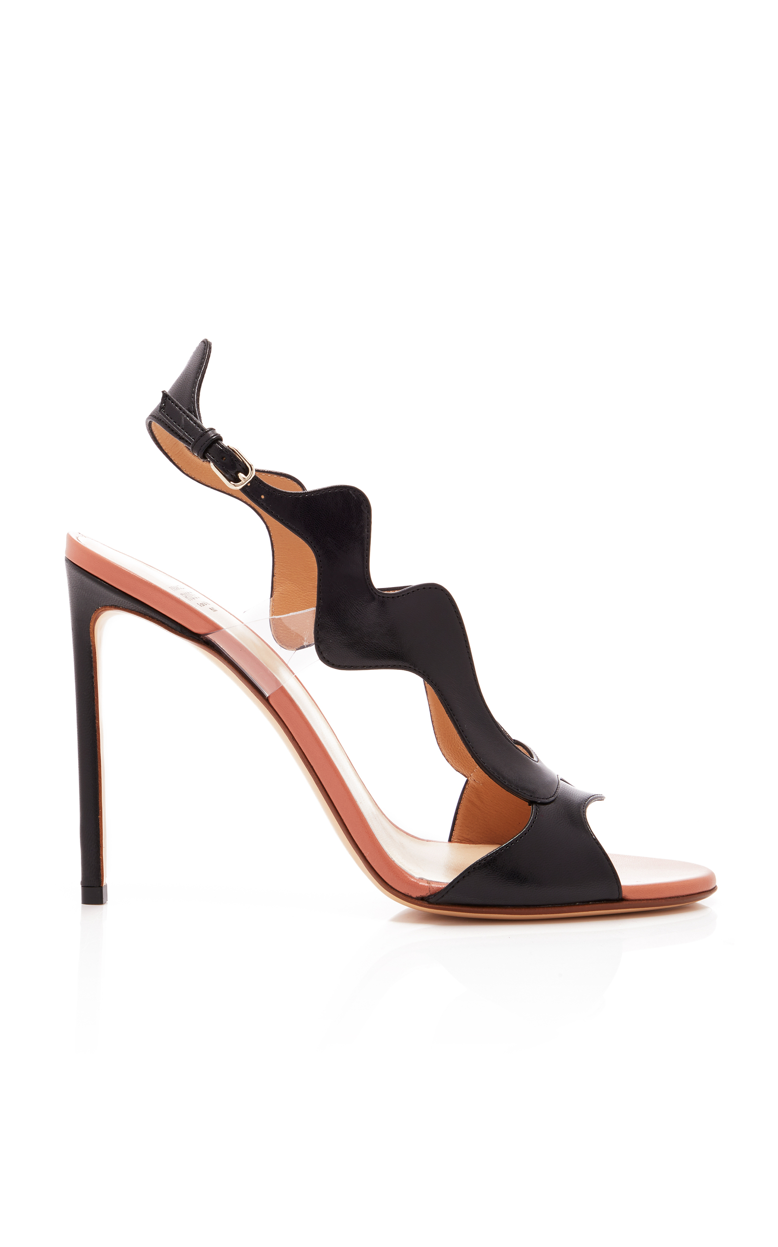 FRANCESCO RUSSO Scalloped Two-Tone Sandal in Black