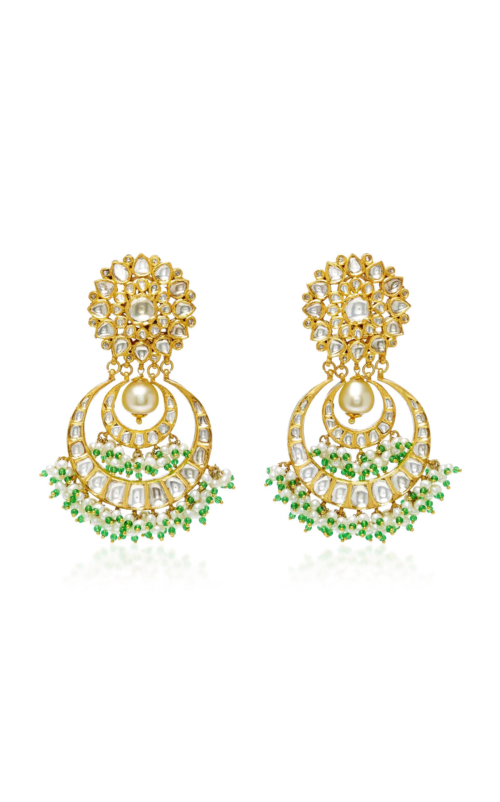 22k Diamant D'or Et Boucles D'oreilles Perle Sanjay Kasliwal xOUVHa5rJ