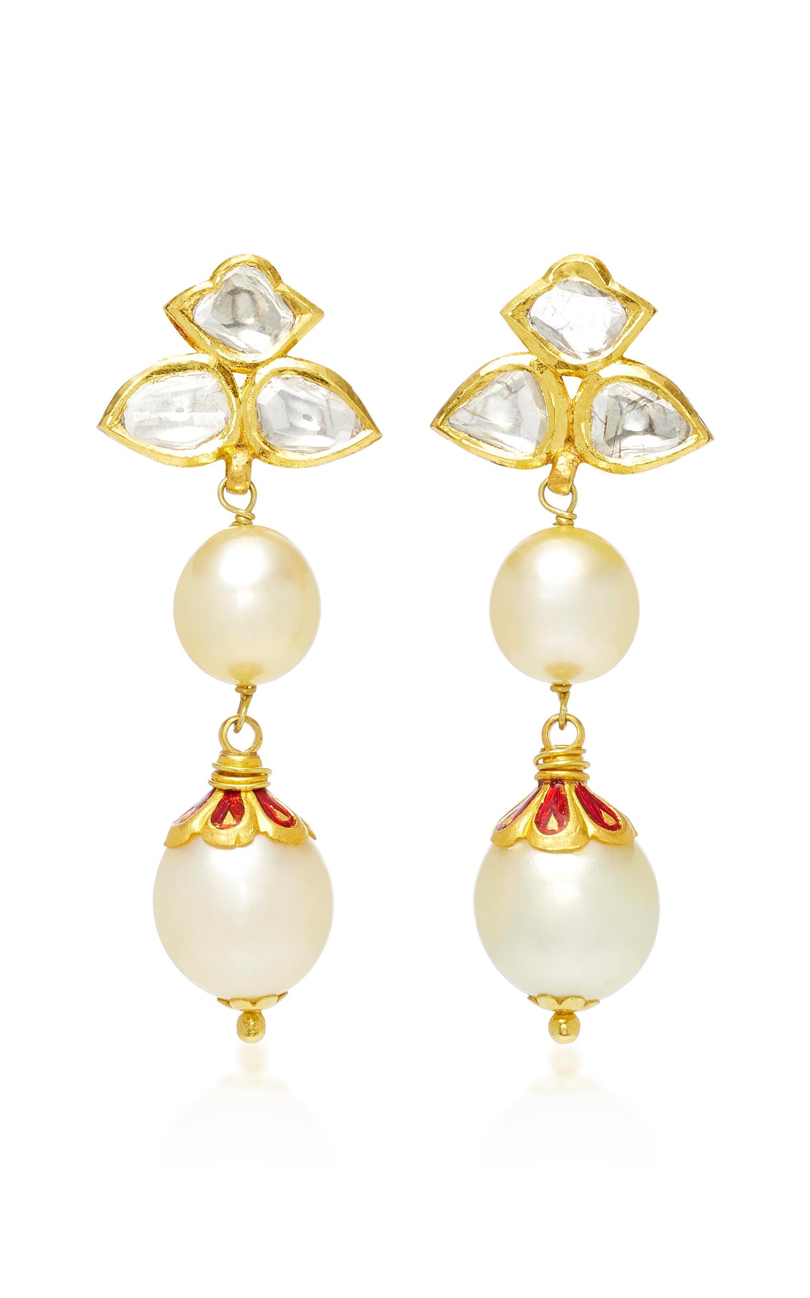 22K Gold Diamond and Pearl Earrings Sanjay Kasliwal omAjo