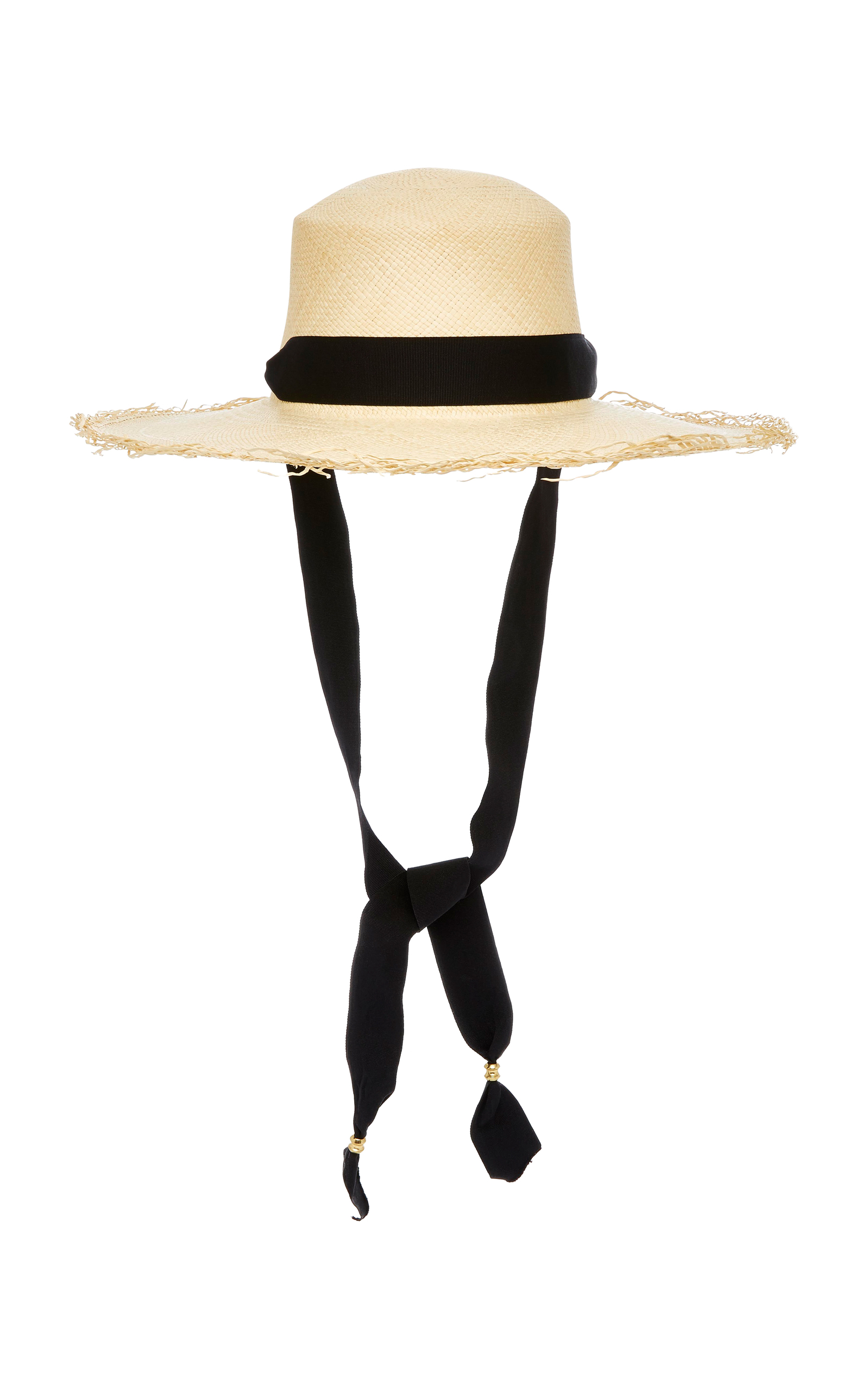 c5816046e18 Frayed Woven Straw Boater Hat With Adjustable Band by Sensi Studio ...