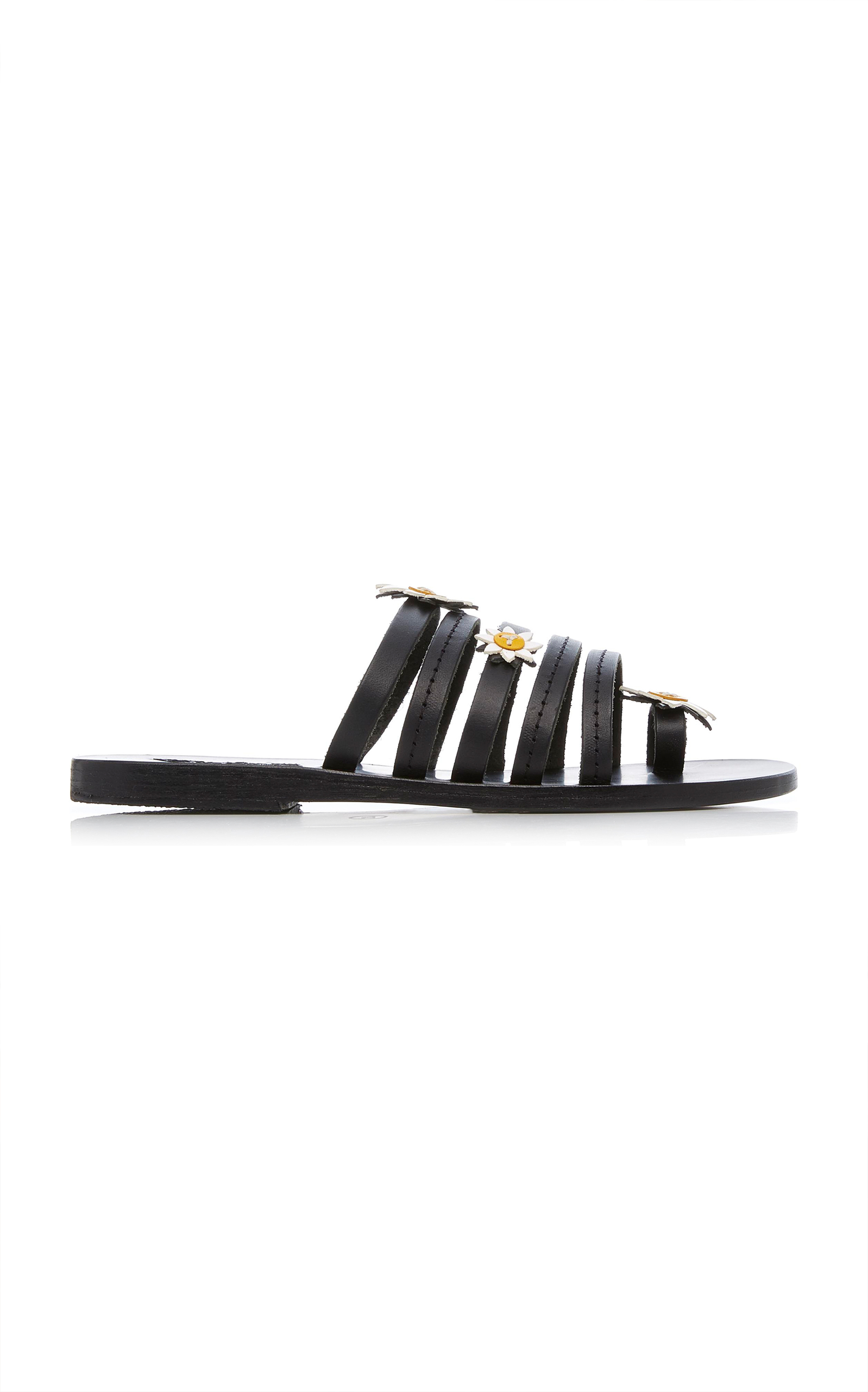 VICTORIA FLORAL-EMBELLISHED LEATHER SLIDES