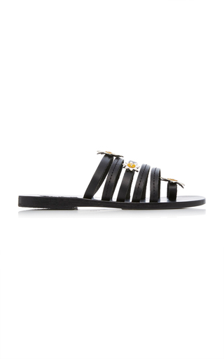 FABRIZIO VITI X ANCIENT GREEK SANDALS | Fabrizio Viti x Ancient Greek Sandals Victoria Floral-Embellished Leather Slides | Goxip