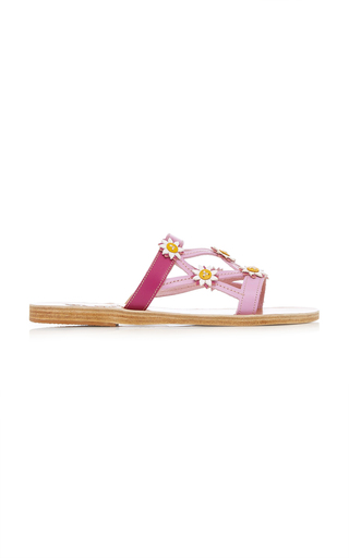 FABRIZIO VITI X ANCIENT GREEK SANDALS | Fabrizio Viti x Ancient Greek Sandals Peonia Floral-Embellished Leather Sandals | Goxip