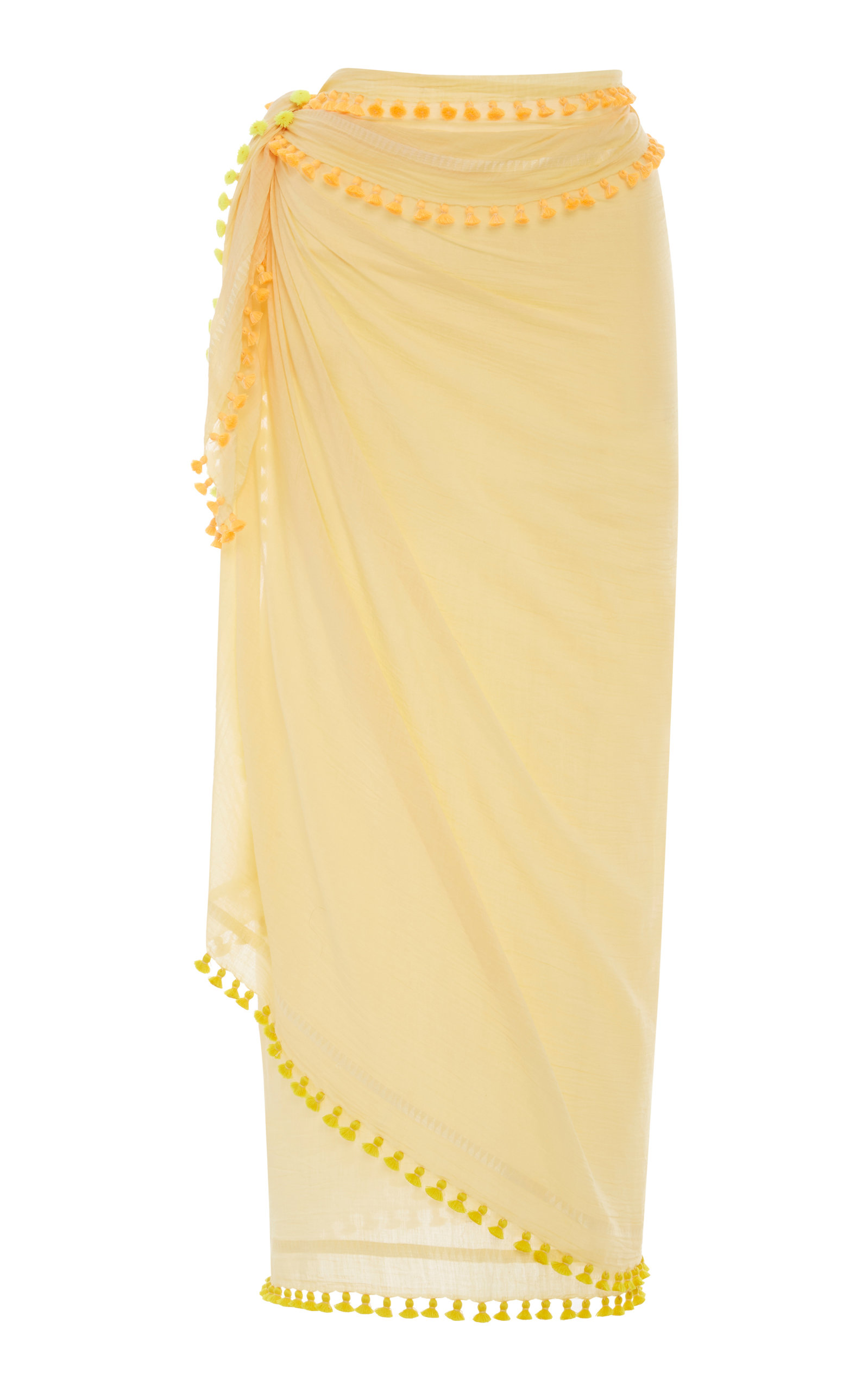 MATTA Fluo Tasseled Cotton And Silk-Blend Sarong in Yellow