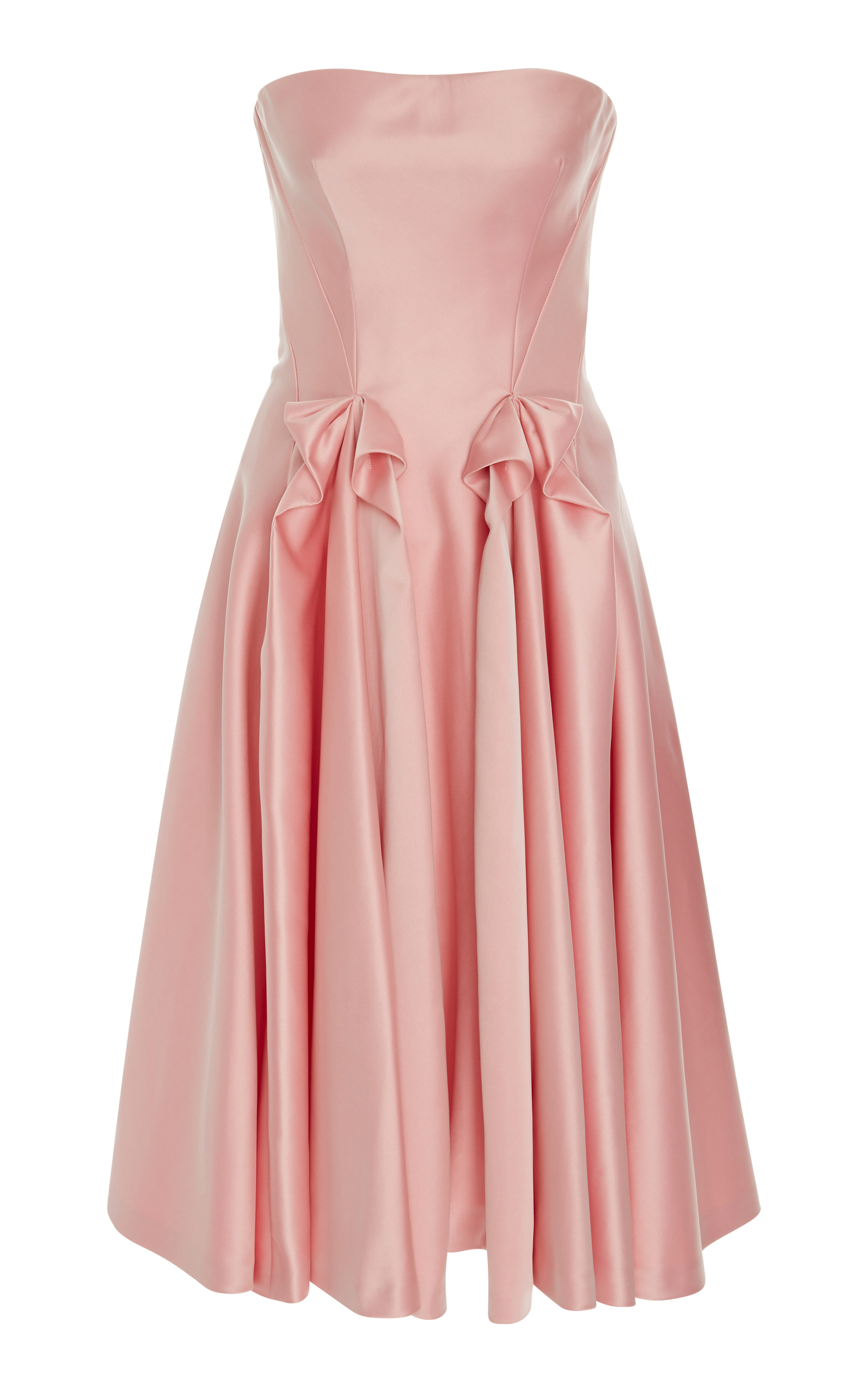 ZAC POSEN STRAPLESS DOUBLE-FACE DUCHESS SATIN TEA-LENGTH COCKTAIL ...