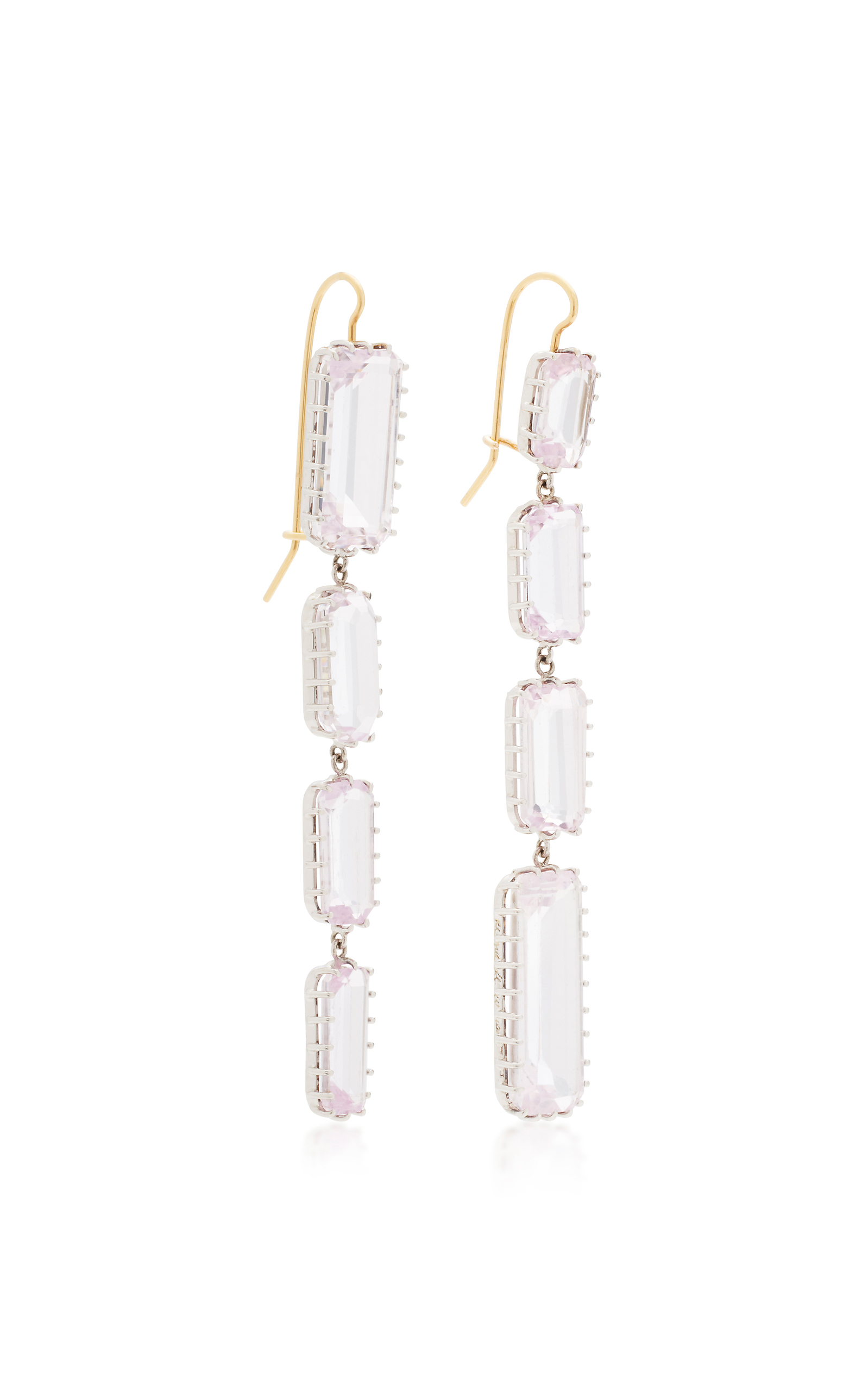 a kind kunzite gallery antique lewis gold white waterfall jewelry renee of one earrings lyst