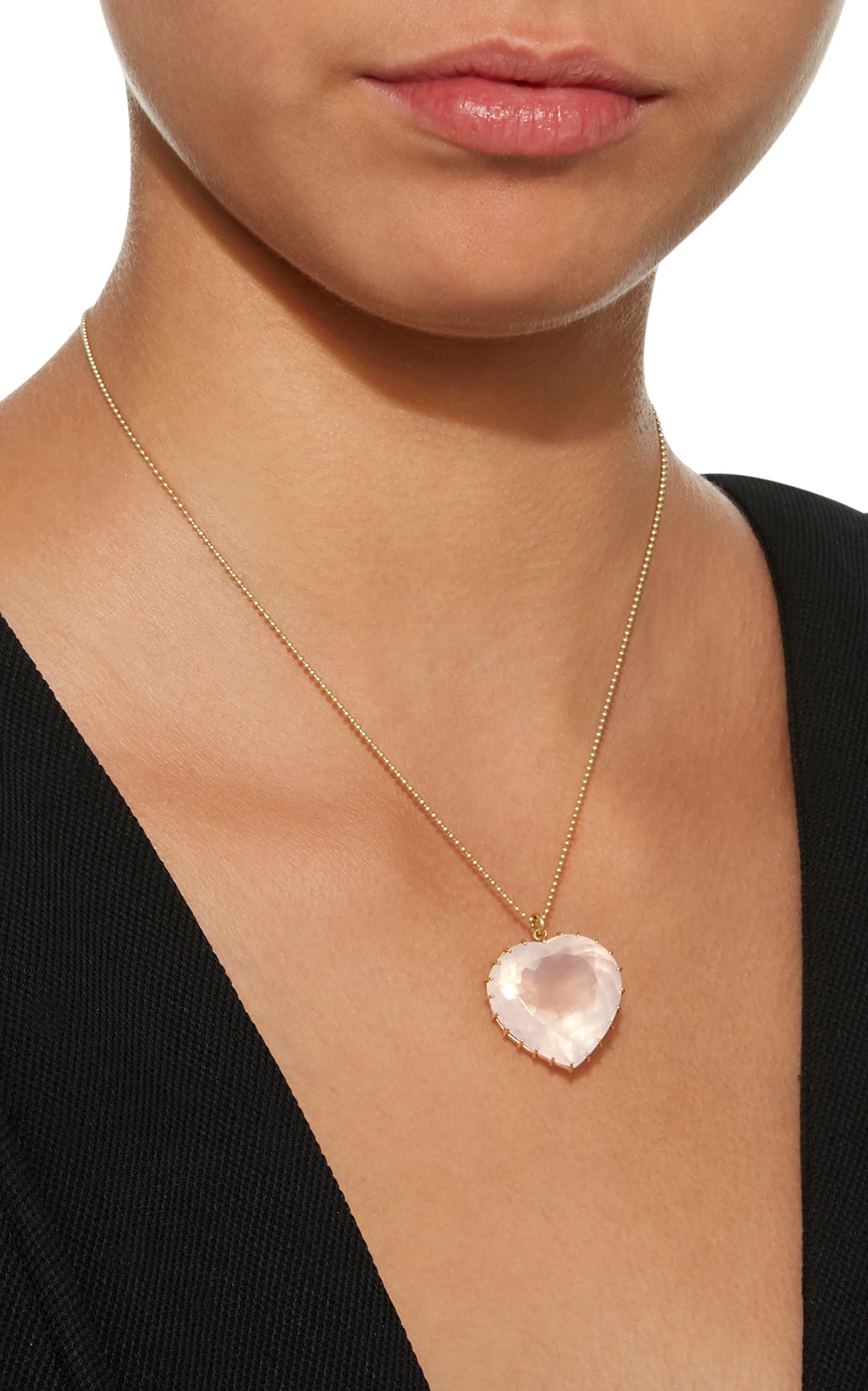 Antique rose quartz heart necklace by renee lewis moda operandi antique rose quartz heart necklace close loading aloadofball Choice Image