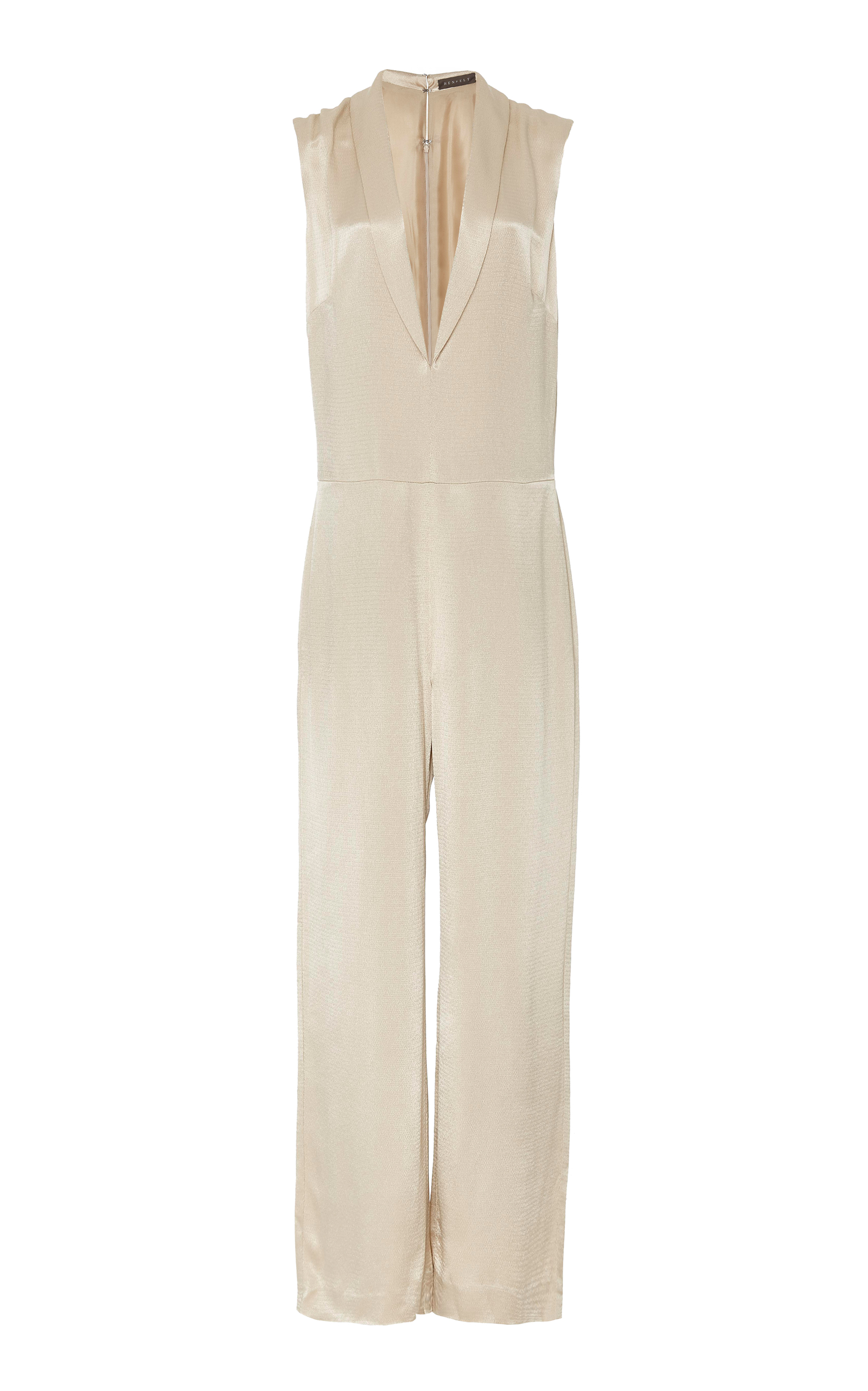 HENSELY Plunging Silk Jumpsuit in White