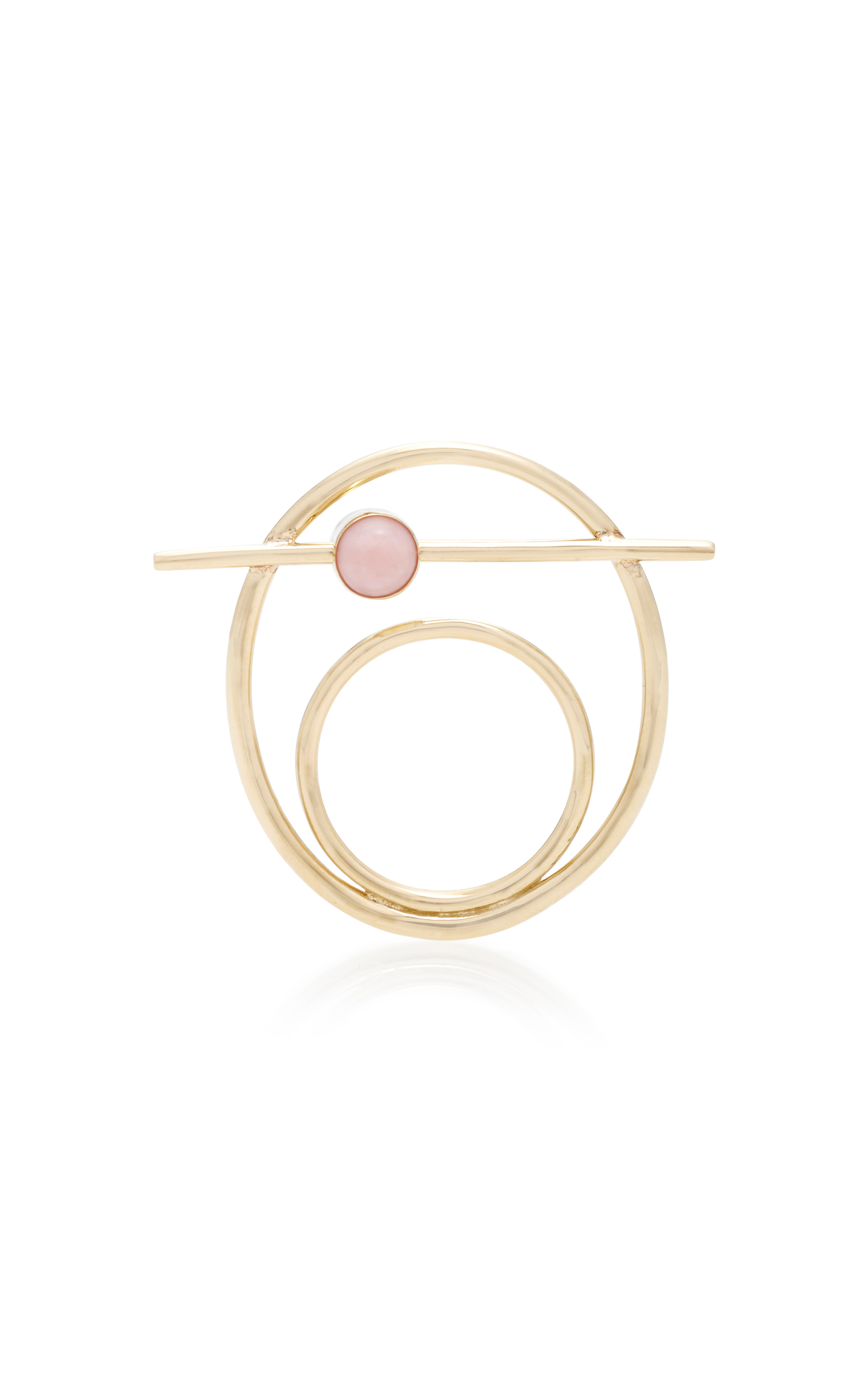 PILI RESTREPO SUNO 10K GOLD PINK OPAL AND CABACHON RING
