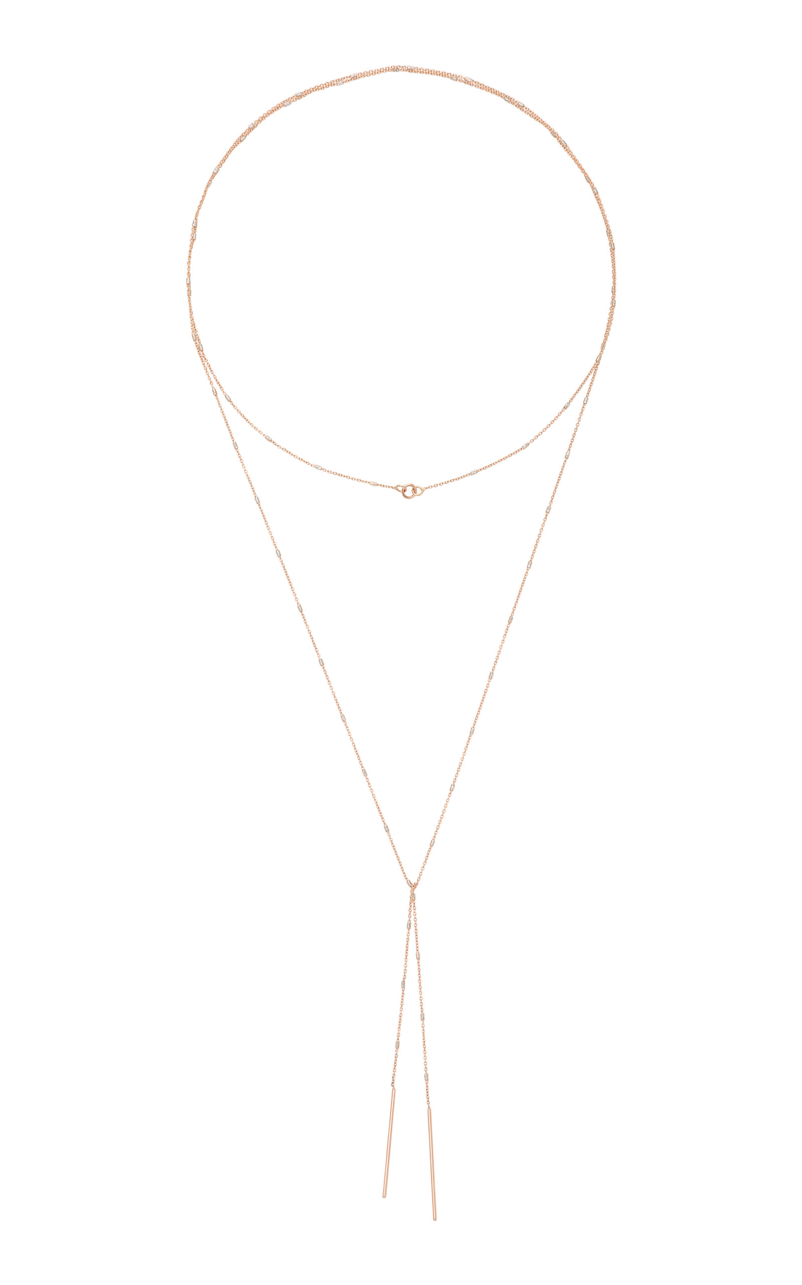 WHITE/SPACE TIE-FRONT 14K ROSE GOLD NECKLACE