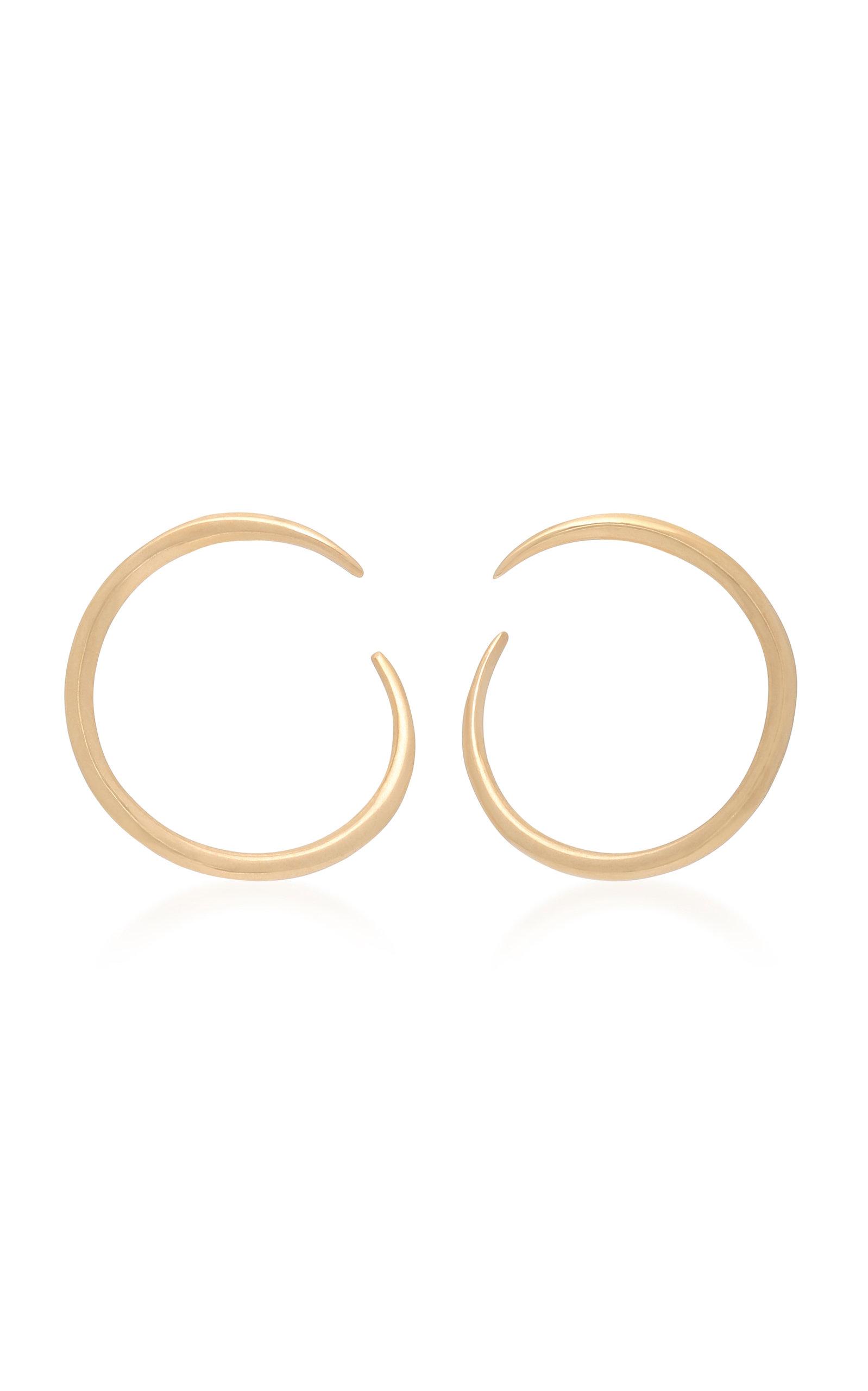 WHITE/SPACE ESME 14K GOLD HOOP EARRINGS