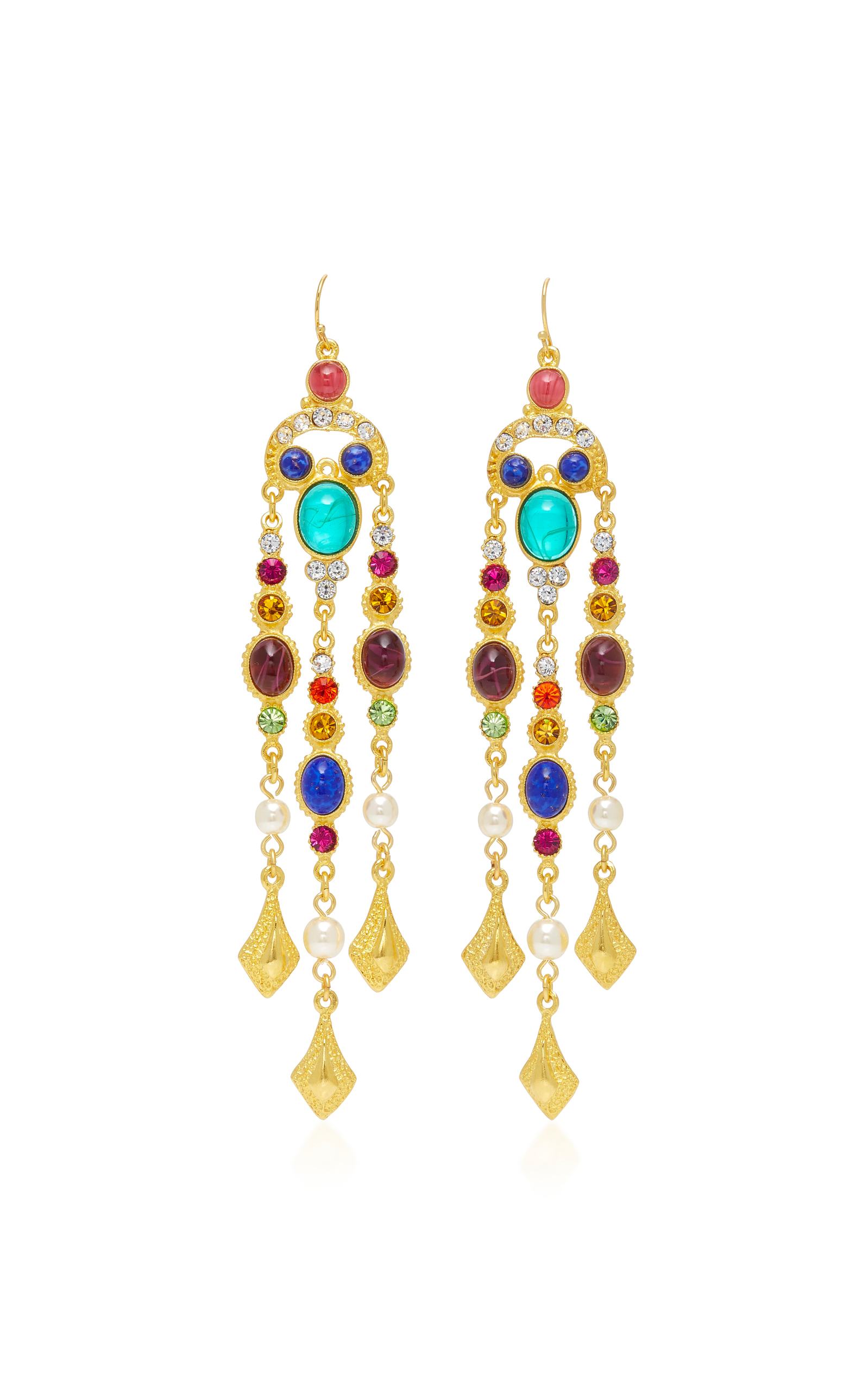 Gold-Plated Brass Crystal Earrings Ben-Amun 372l9iDB