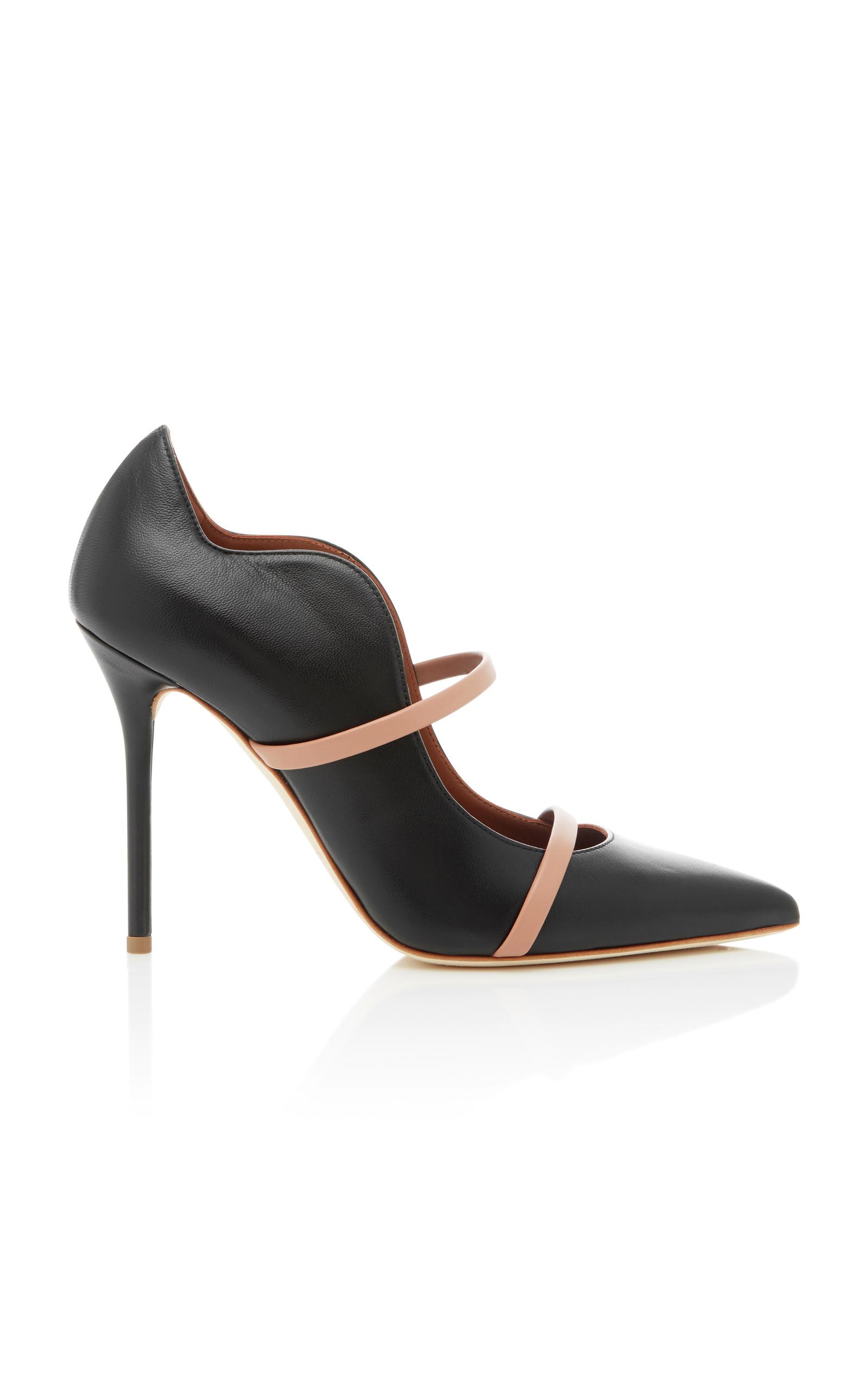 Black Satin And Mirror Platinum Nappa Leather Maureen High Heel Pumps
