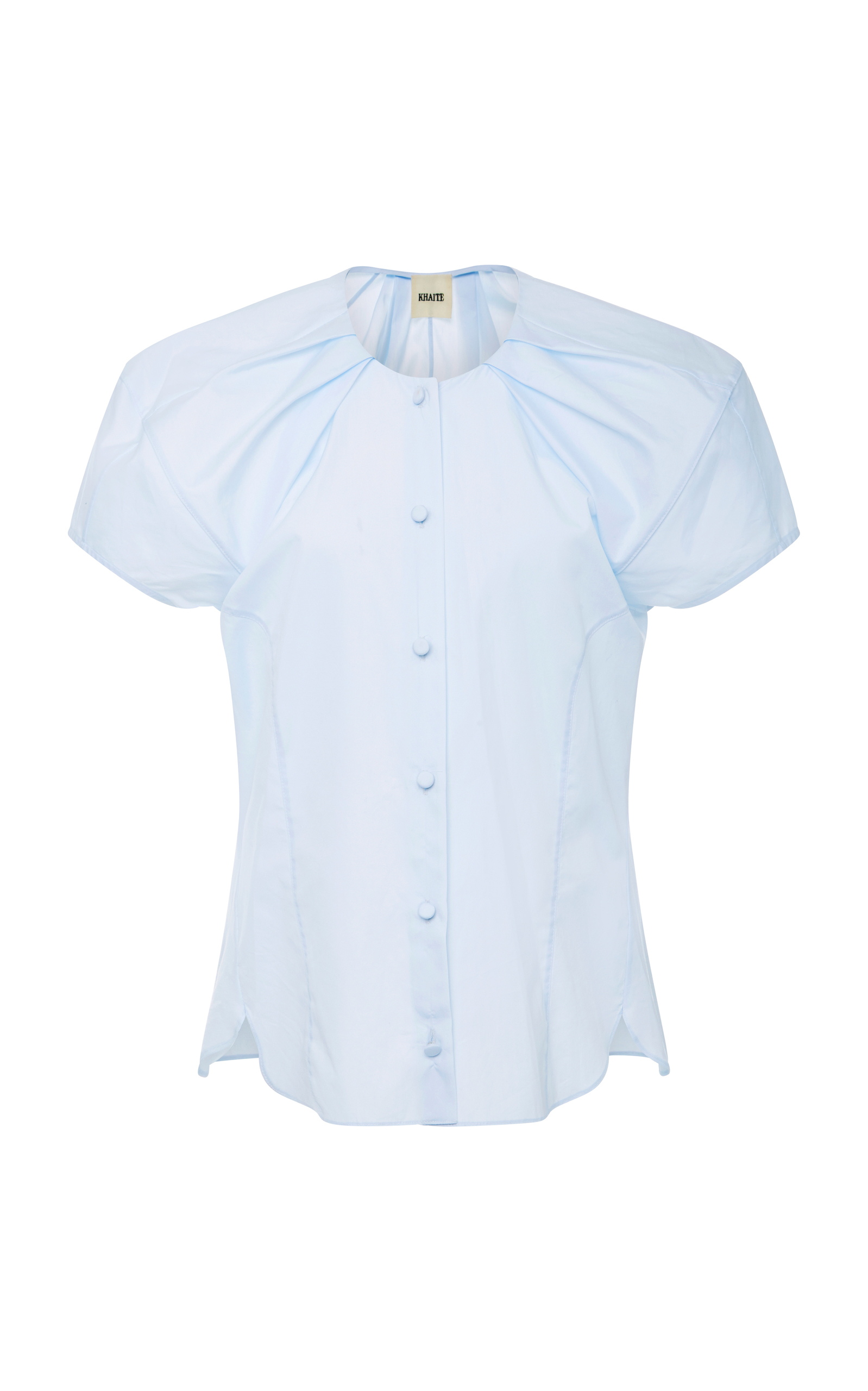 Khaite Tanya Cotton Poplin Top In Blue Modesens Tania Blouse White Beatrice Clothing