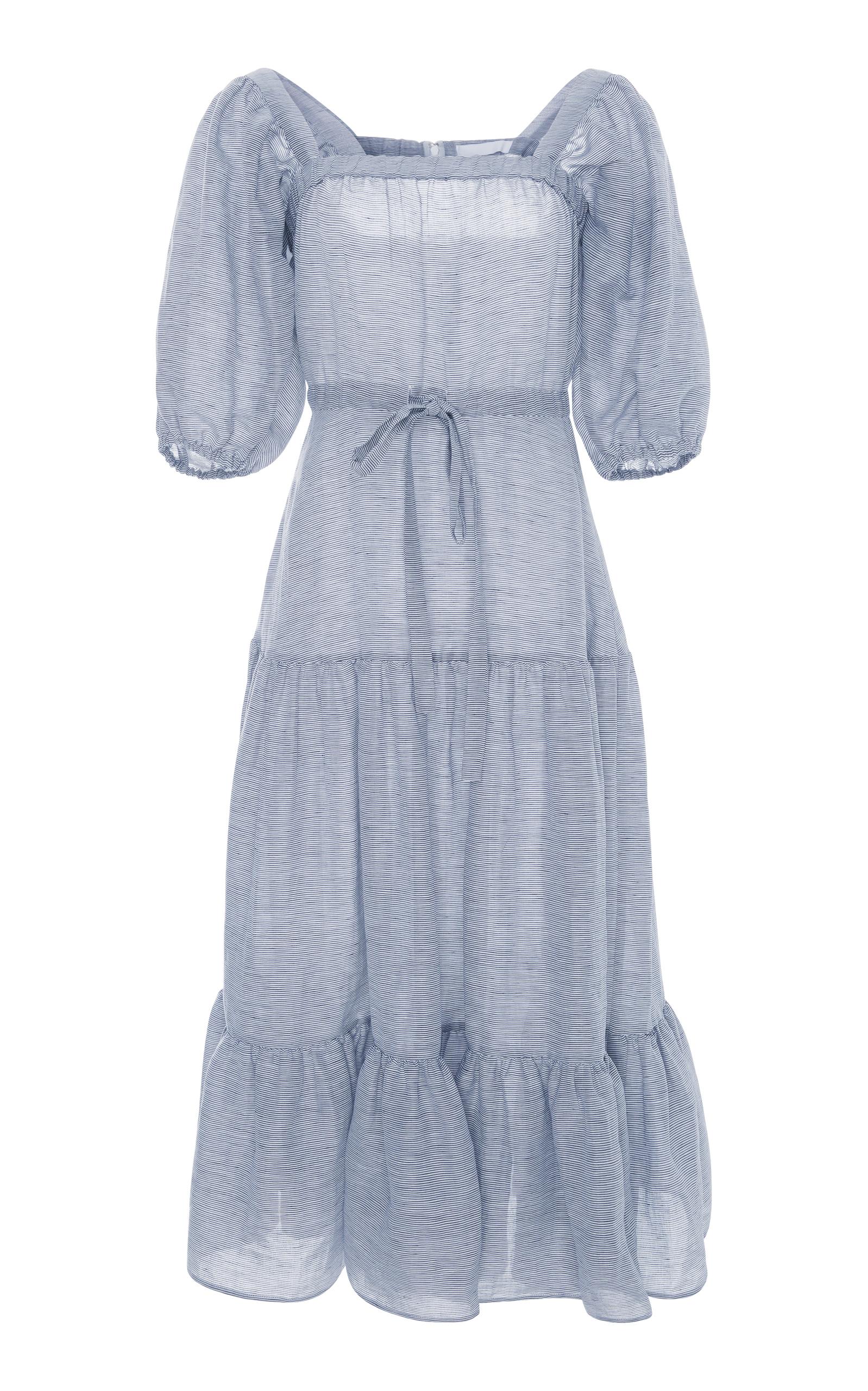 980f23dc111 CO Square-Neck Tiered Stripe Linen Long Dress