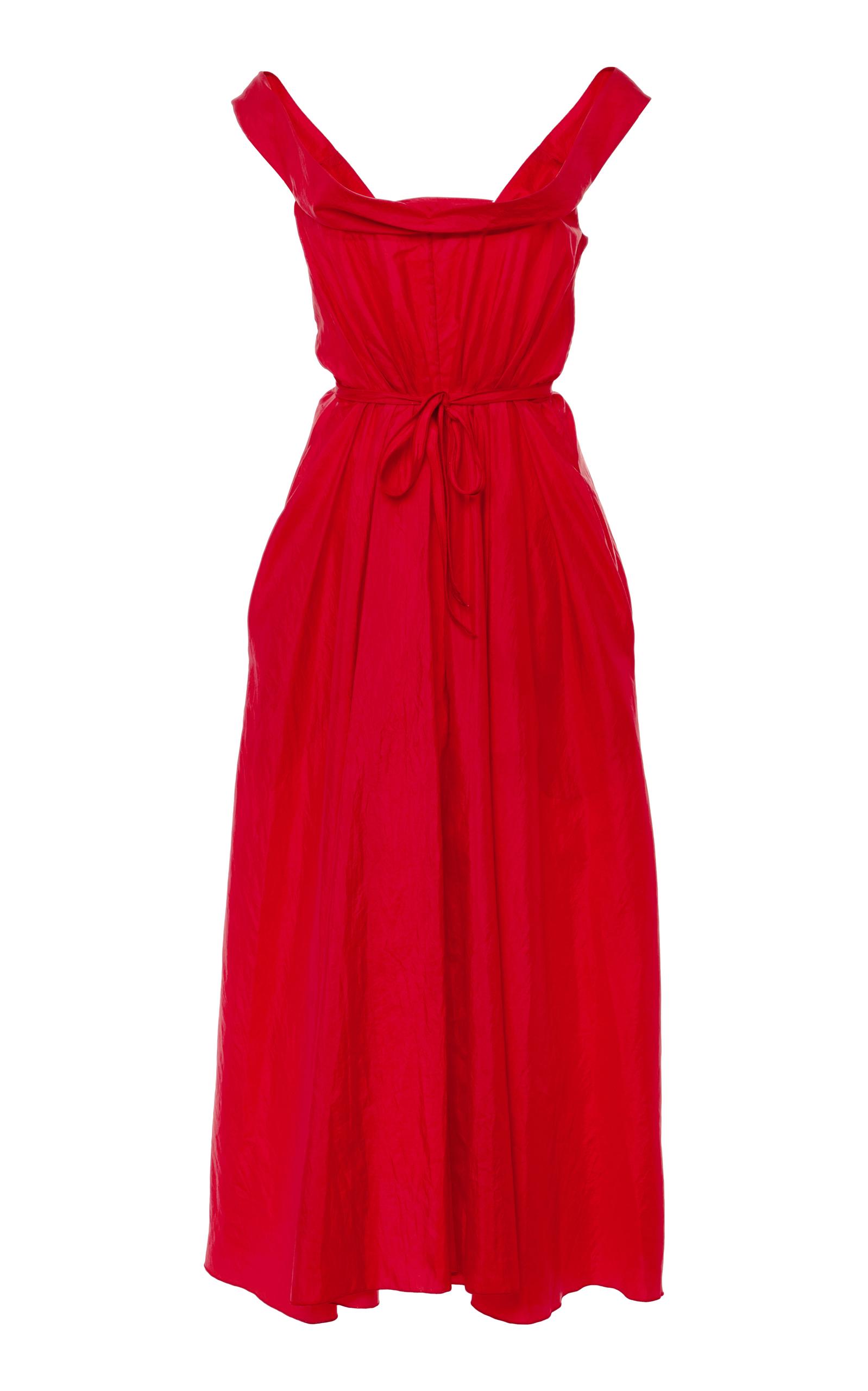 BROCK COLLECTION Davi Off-The-Shoulder Taffeta Midi Dress in Red