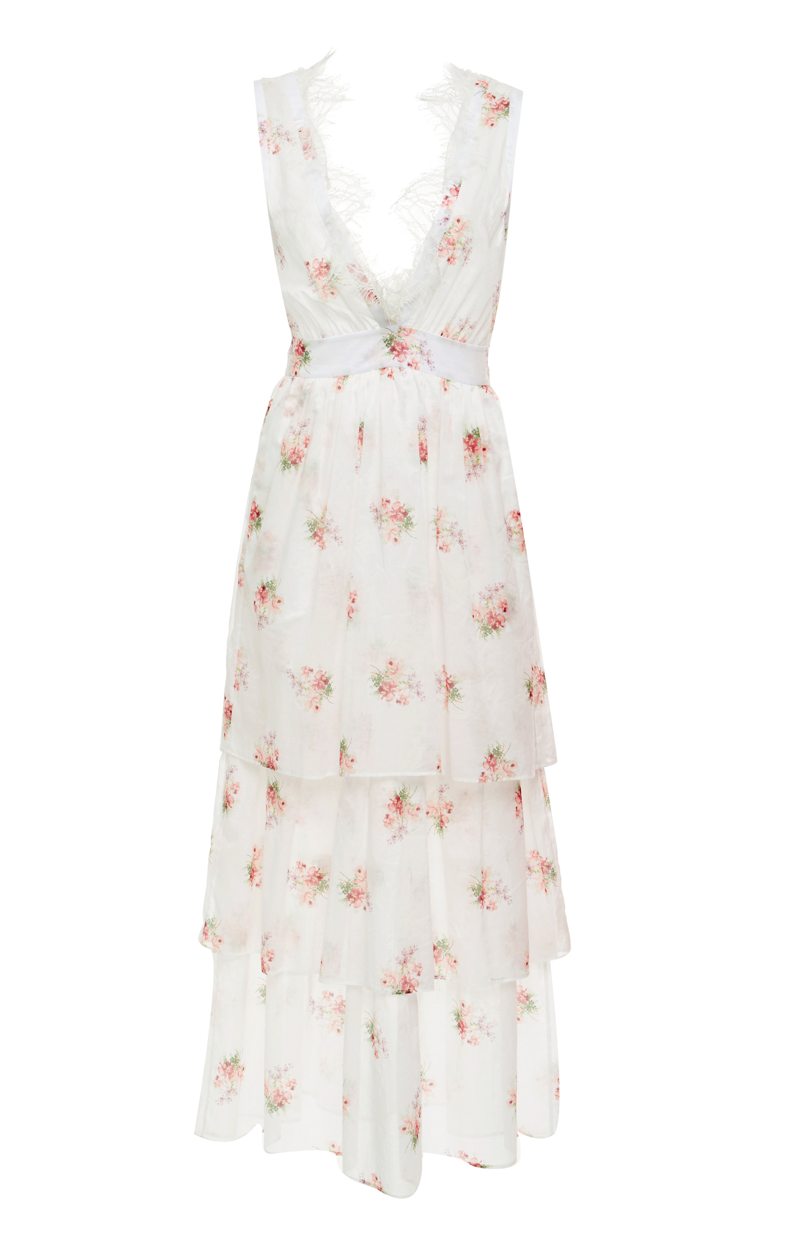 BROCK COLLECTION Sleeveless V-Neck Floral-Print Tiered Dress W/ Lace Trim in White