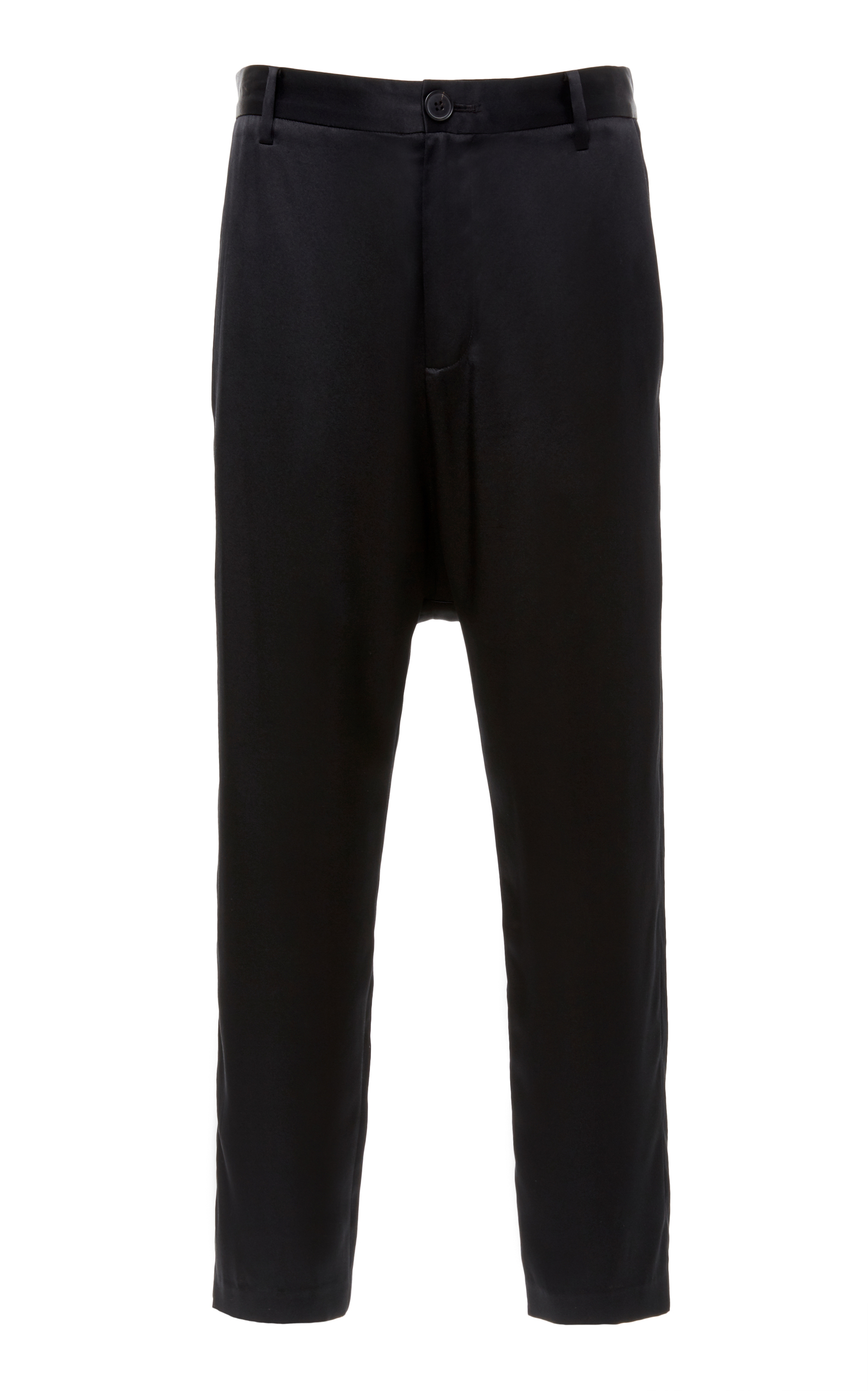 Paris High-Rise Silk Cropped Trousers, Black