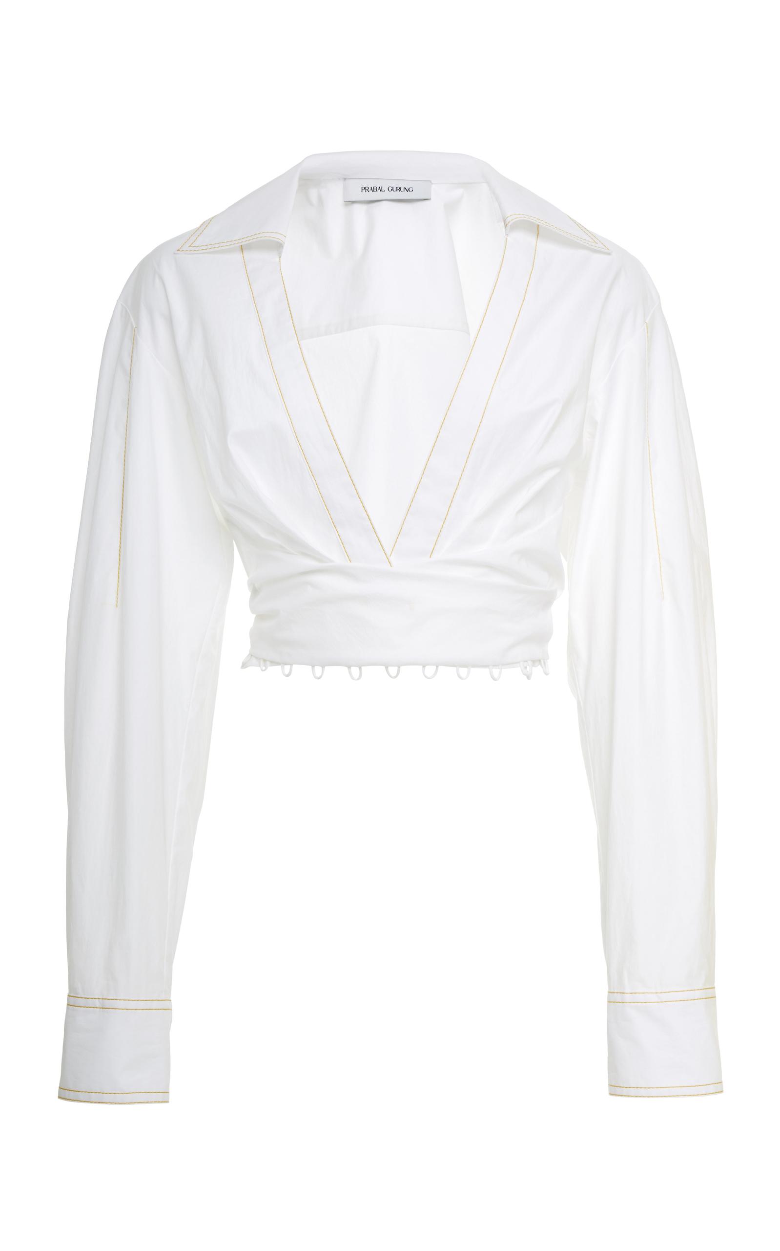 Plunging Wrap-Front Cotton Poplin Shirt, White