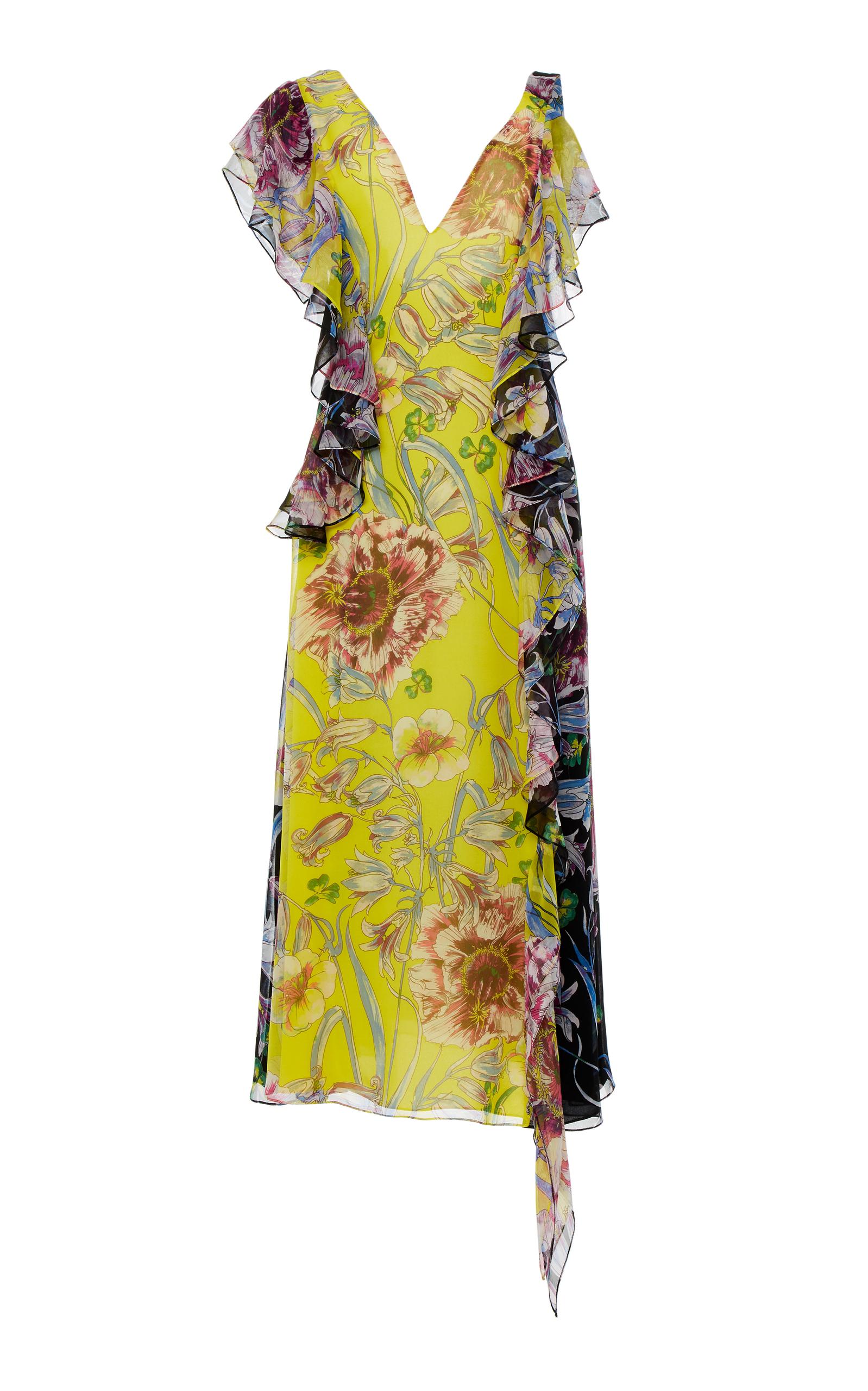 PRABAL GURUNG Rana Floral Silk Dress - Lemon/Black Floral Size 6 in Yellow