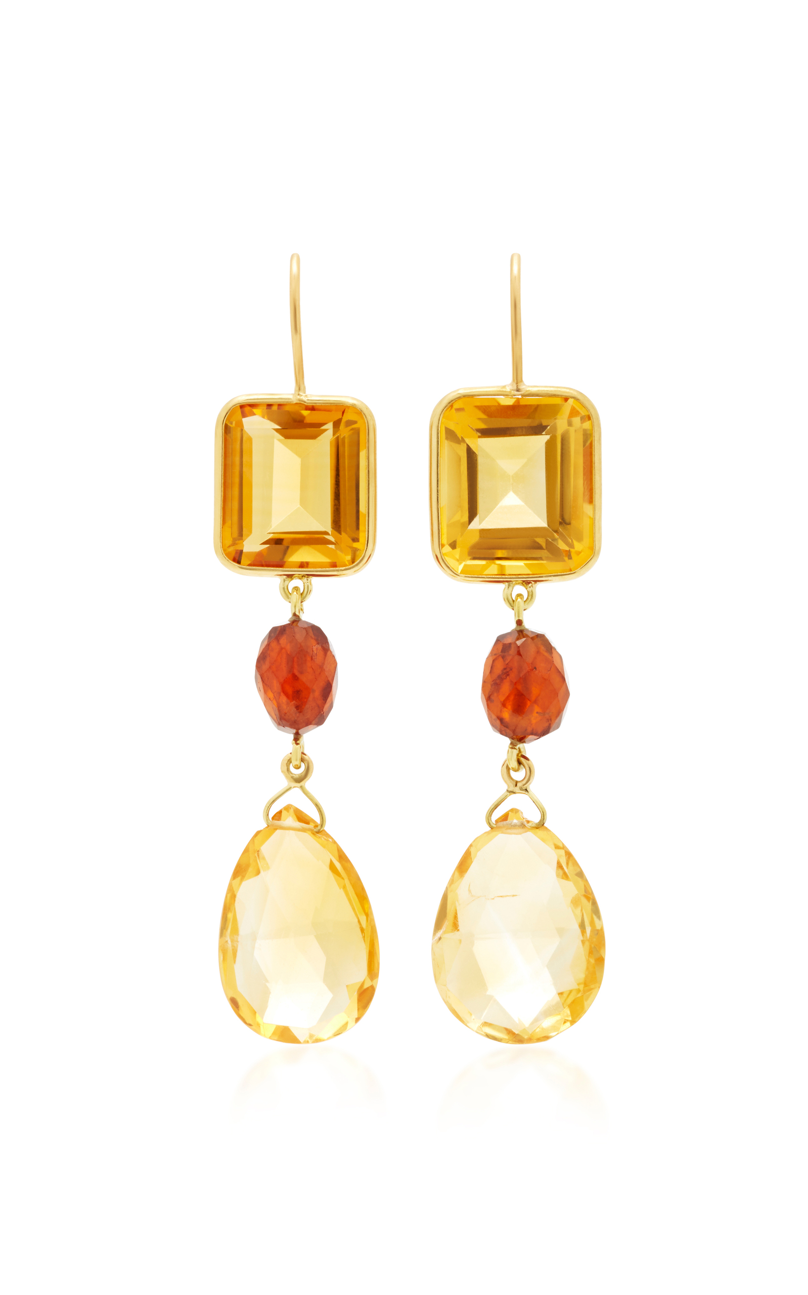 BRIGID BLANCO 18K Yellow Gold Citrine And Hessionite Long Earrings in Orange