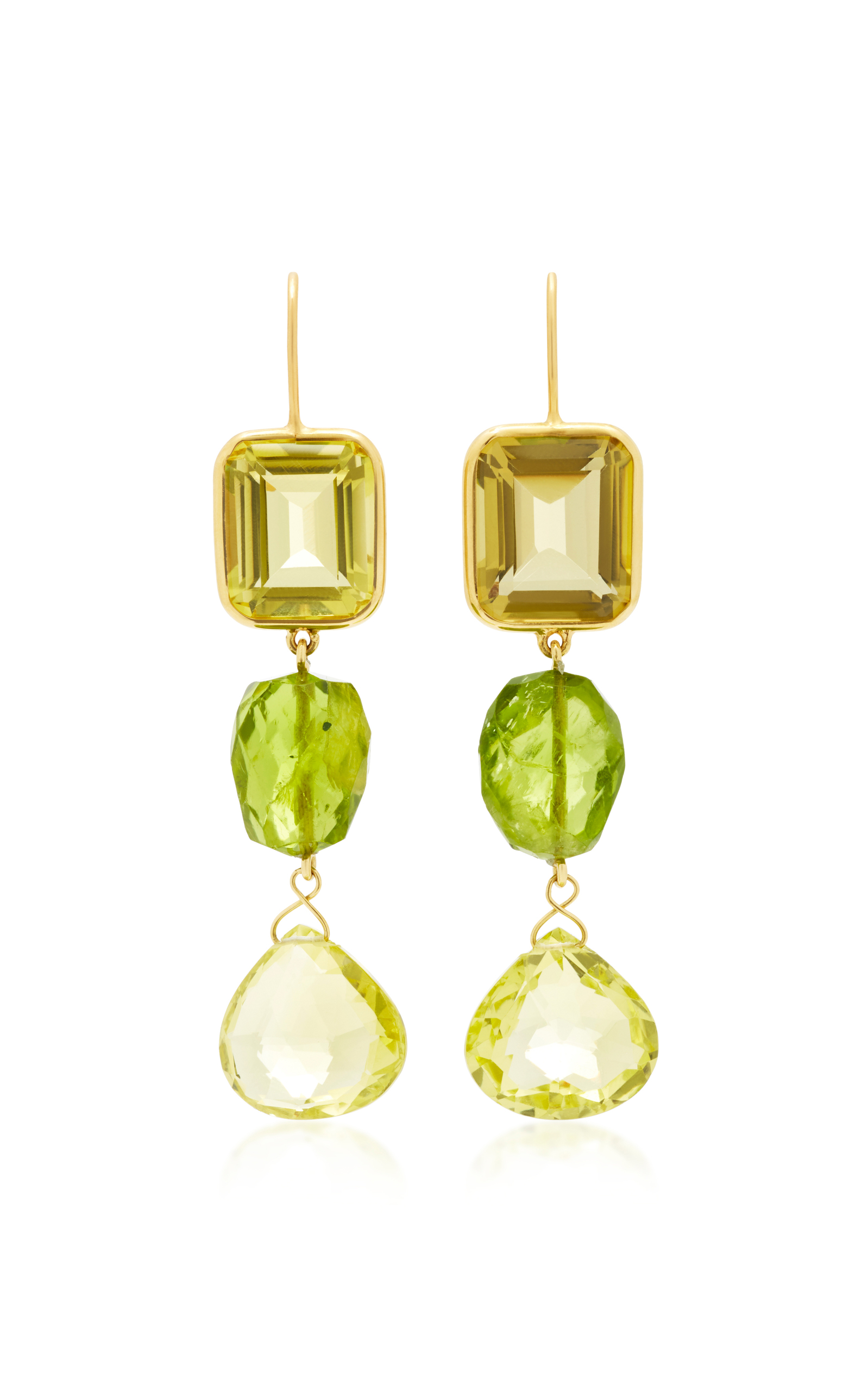 BRIGID BLANCO 18K Yellow Gold Citrine And Peridot Long Earrings in Green