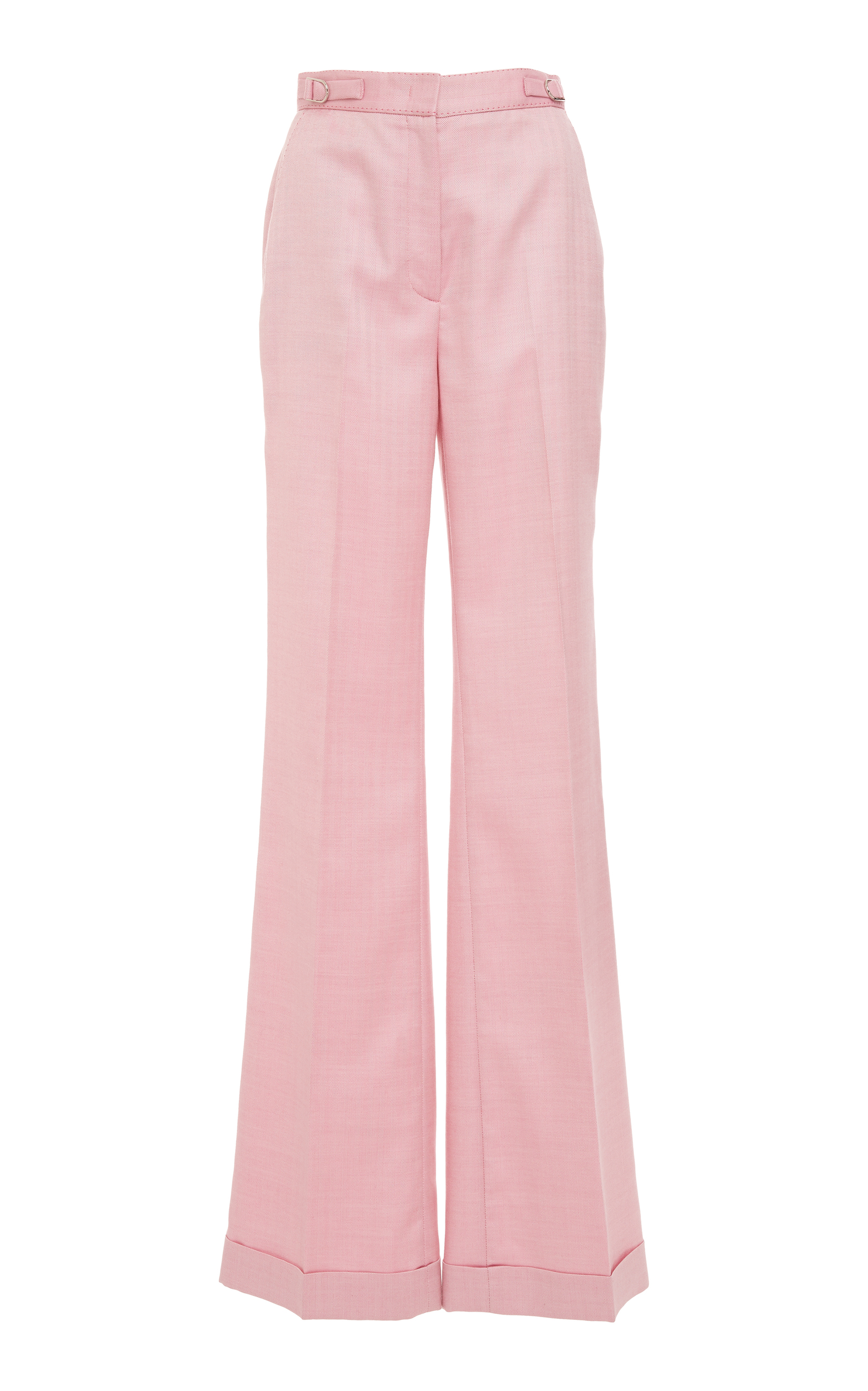 Gainsbourg Herringbone Wool And Silk Trousers in Pink
