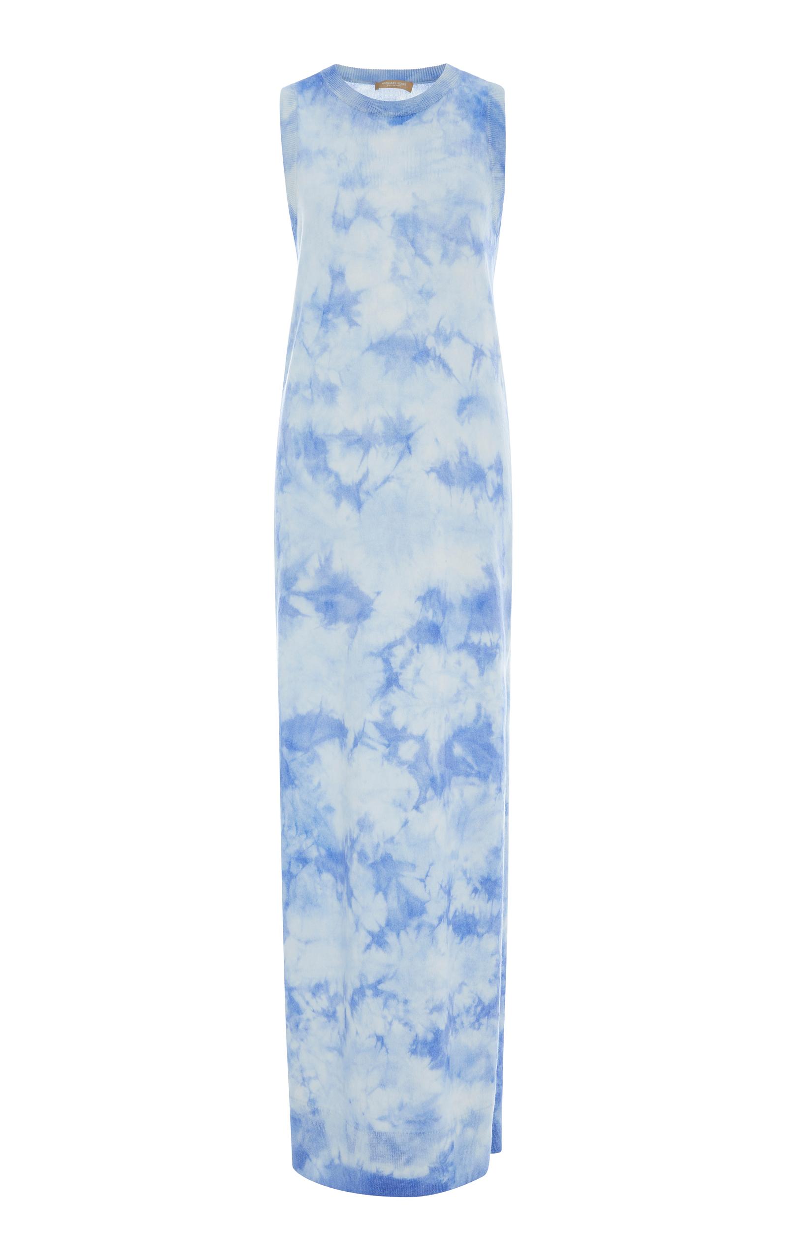 Michael Kors Sleeveless Crewneck Tie Dye Maxi Dress In Blue