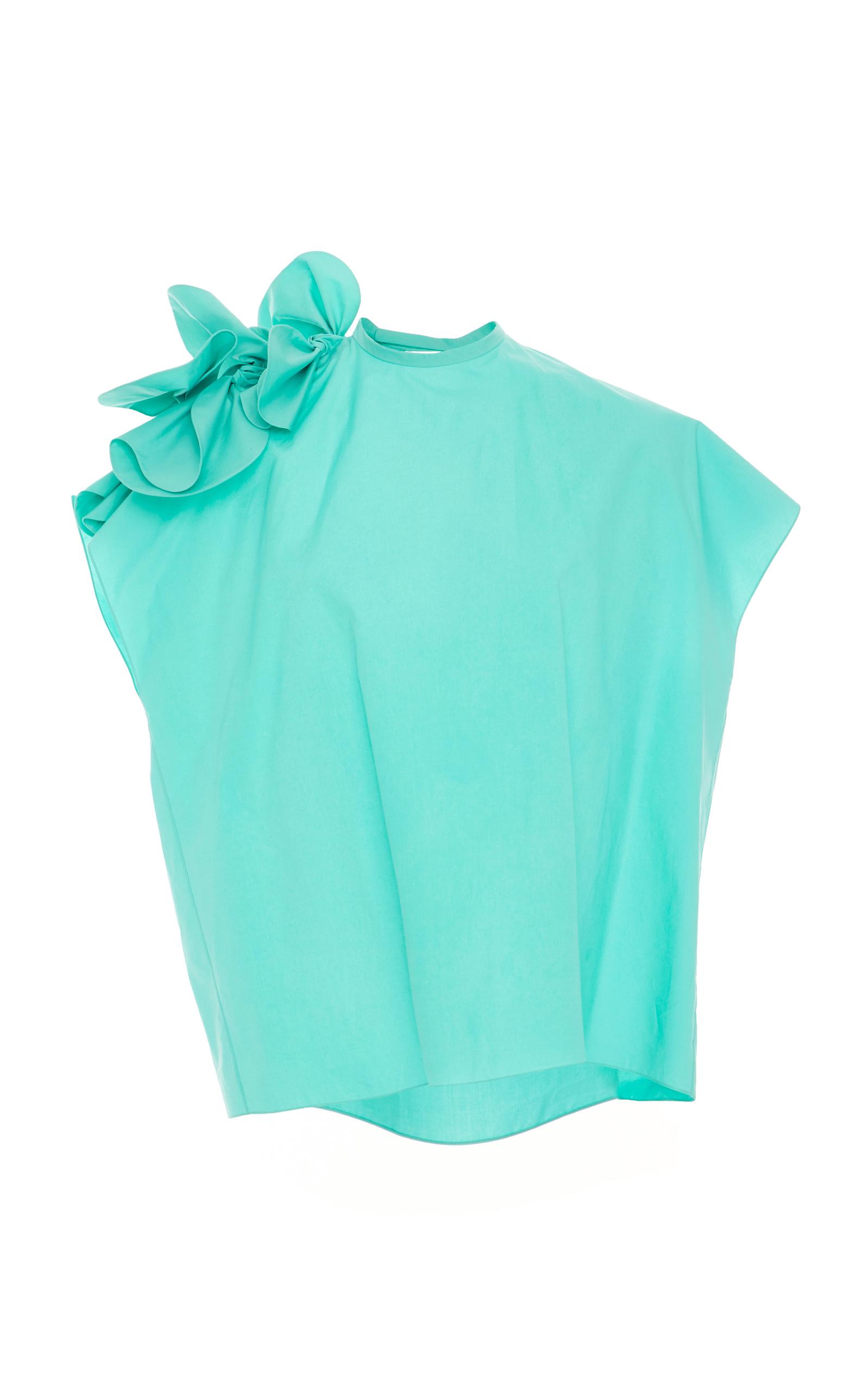 DELPOZO Poplin Bow-Shoulder Dress in Blue