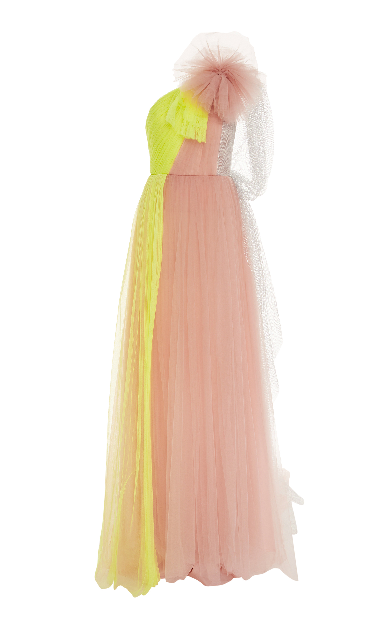 DELPOZO Contrast Flared Maxi Dress in Pink