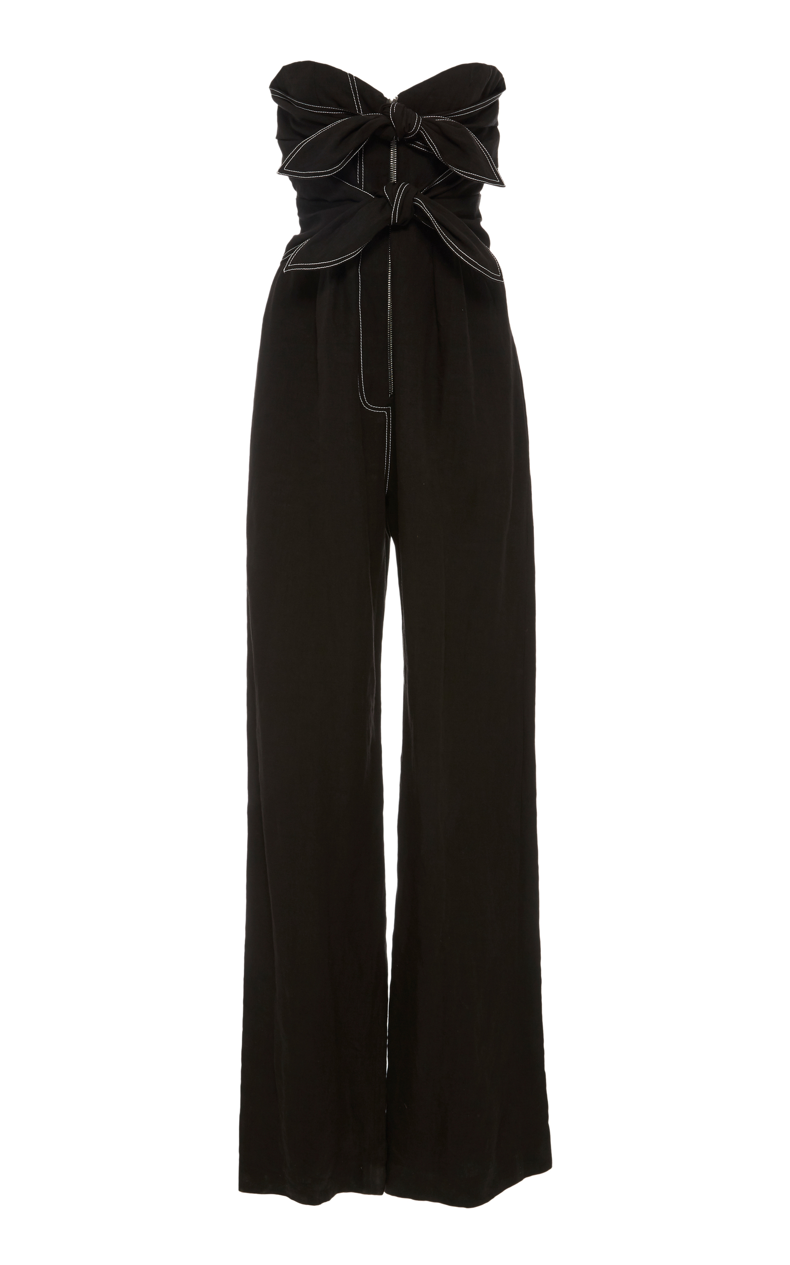 Strapless Bow-Front Wide-Leg Linen Jumpsuit With Mesh in Black