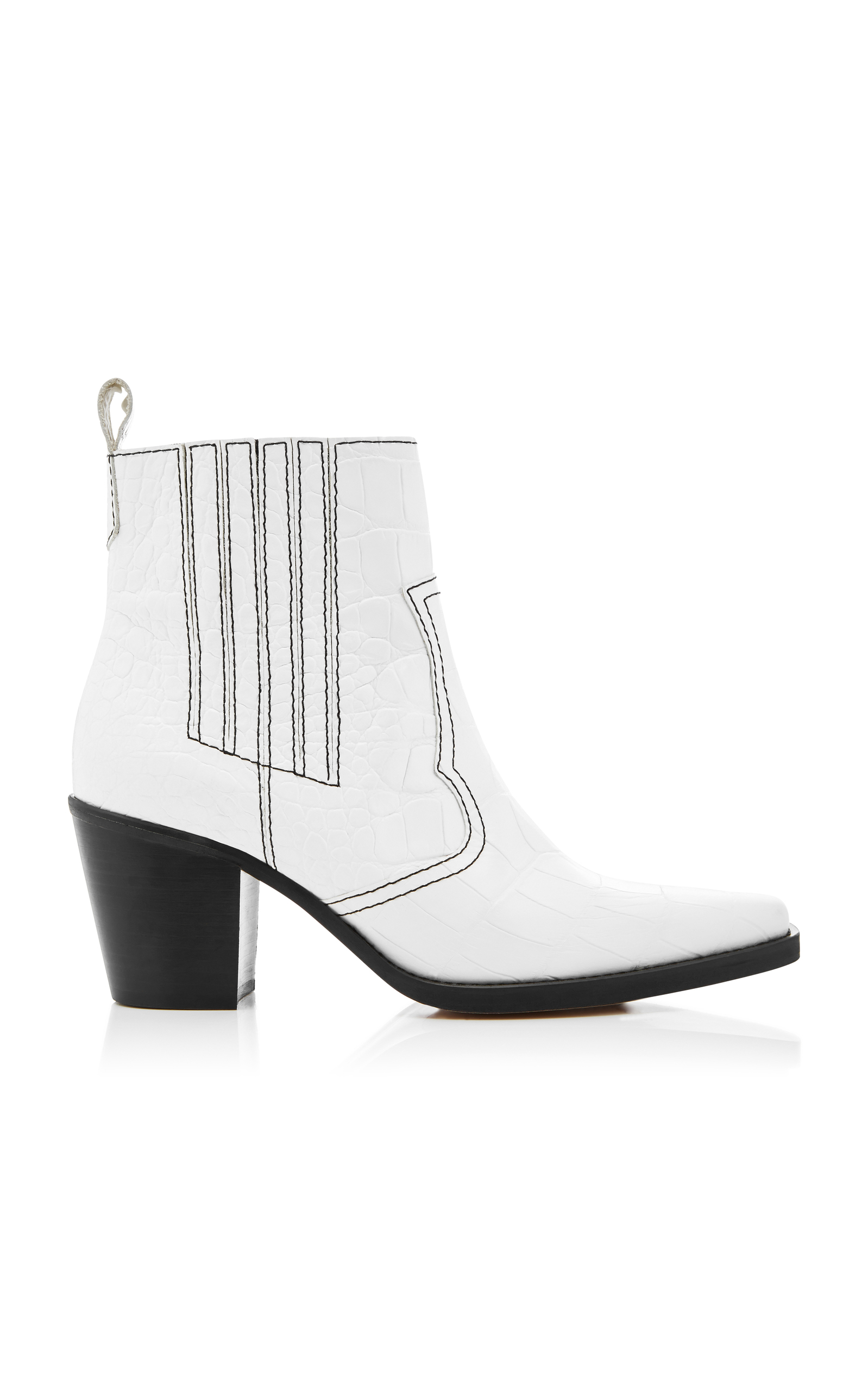 Callie Crocodile-Effect Leather Ankle Boots in White from Oxygen Boutique