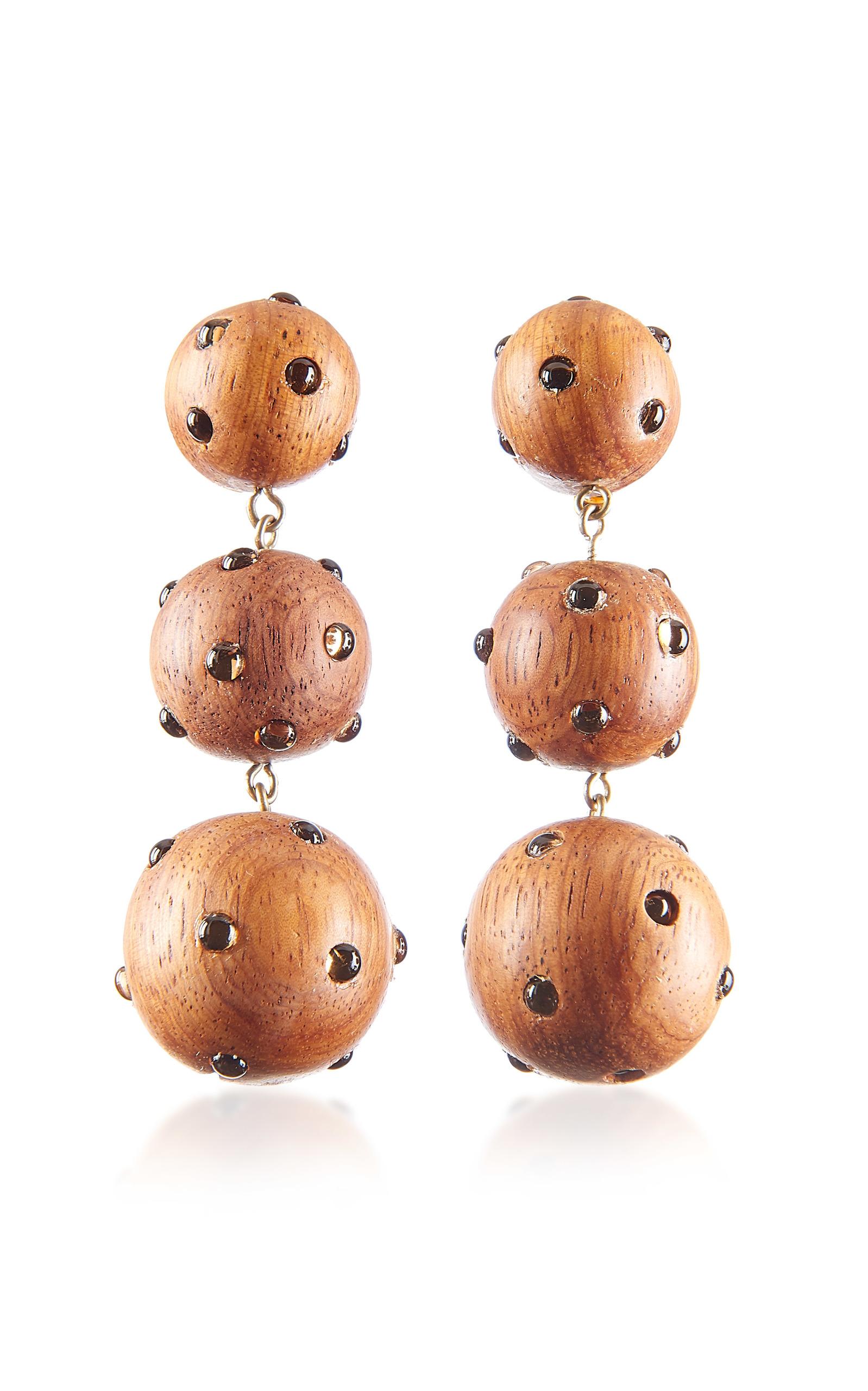 Wood & Glass Three-Drop Earrings, Brown
