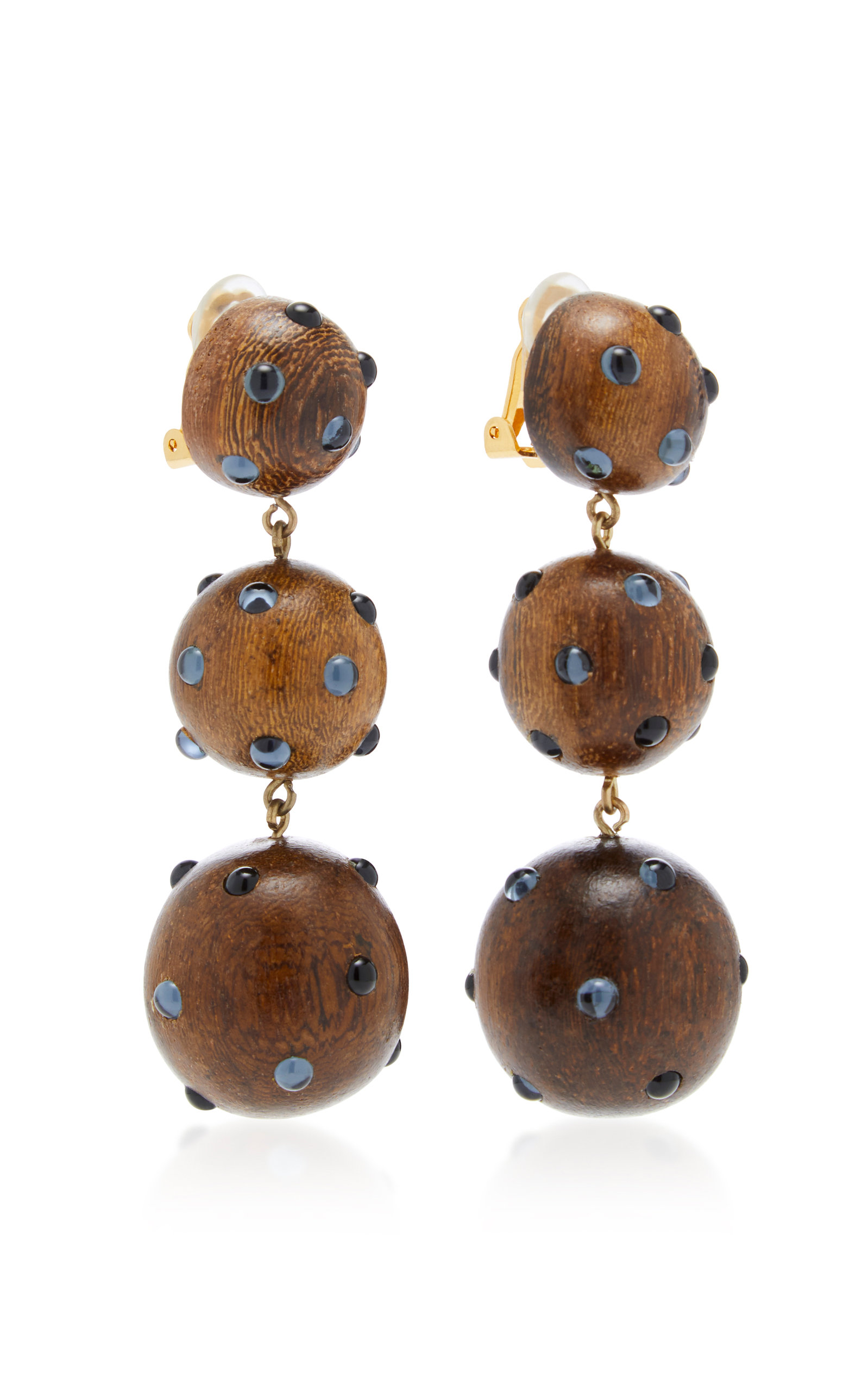Rebecca de Ravenel Classic Three Drop Dark Wood and Denim Earrings NGew6CTrc