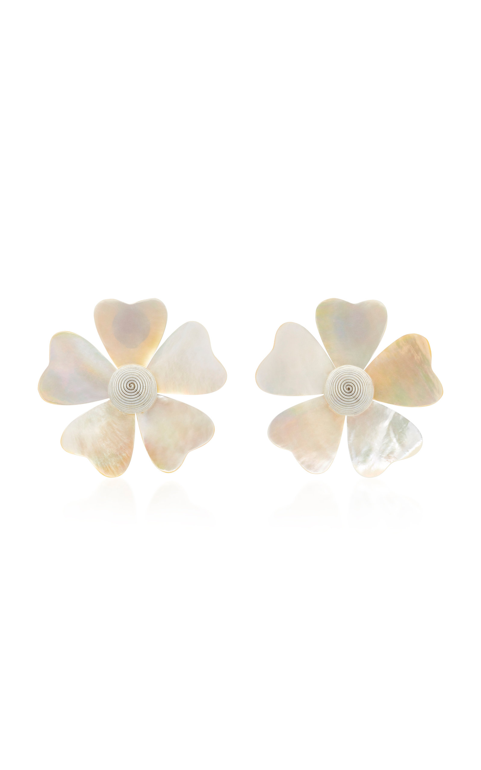 Mother Of Pearl Flower Earrings Close Loading