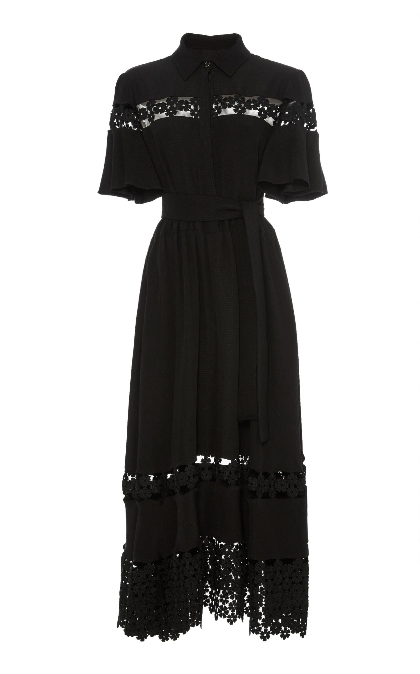 LELA ROSE LACE INSET FLUTTER SLEEVE SHIRT DRESS