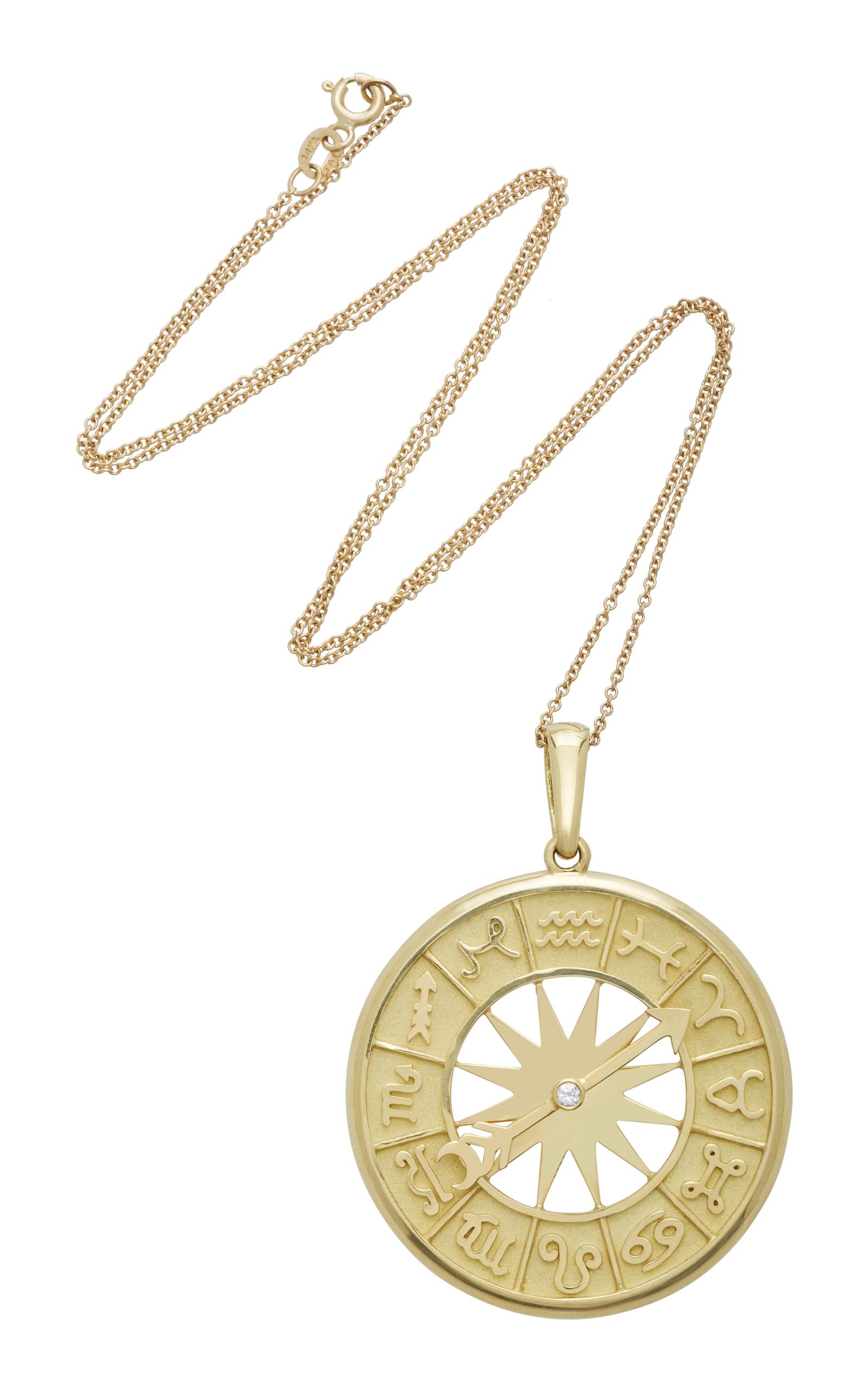 Zodiac Dial 18K Gold Pendant Necklace Established e5rsH0