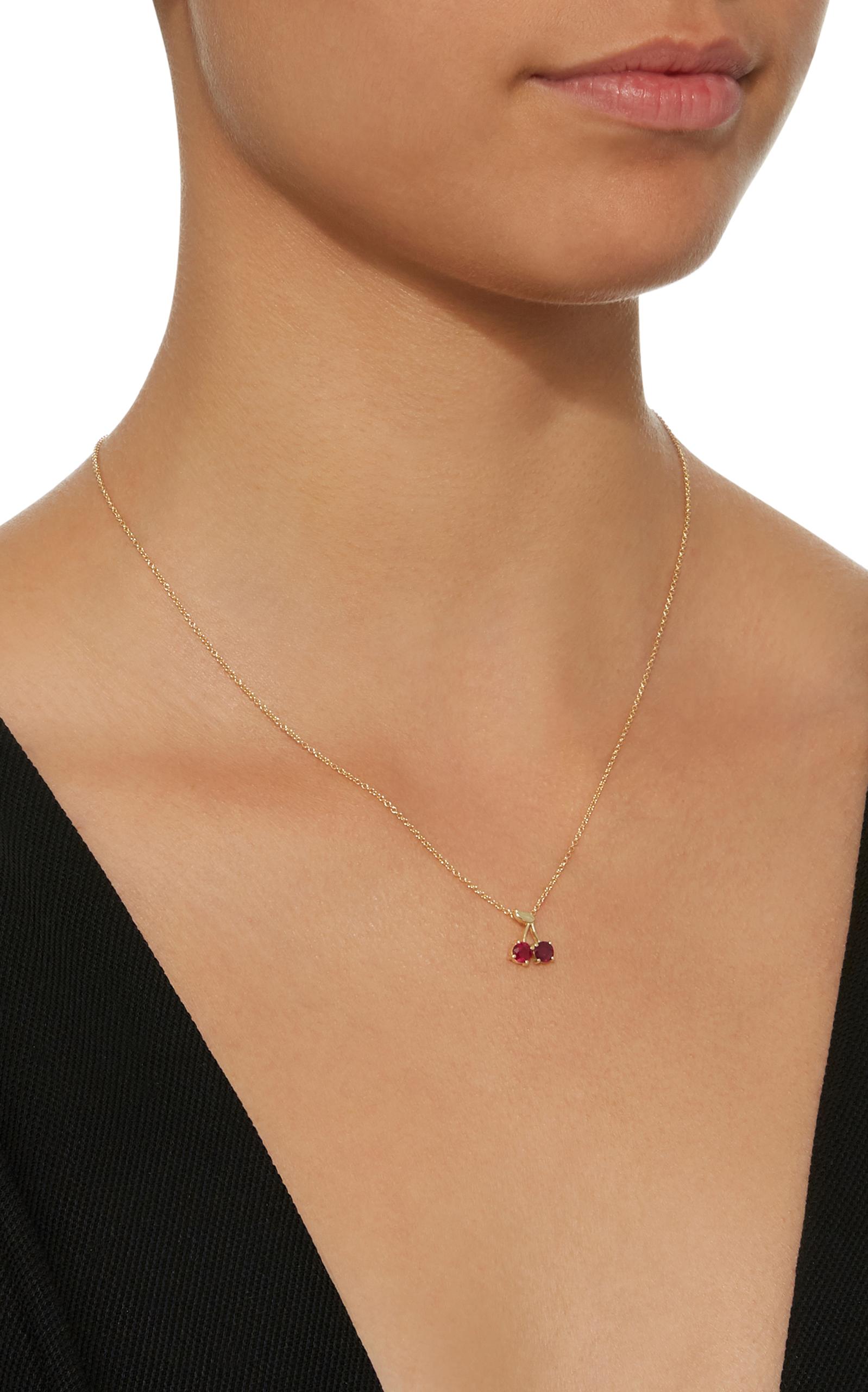Cherry Charm 18K Gold Ruby Earrings Established SaVhB
