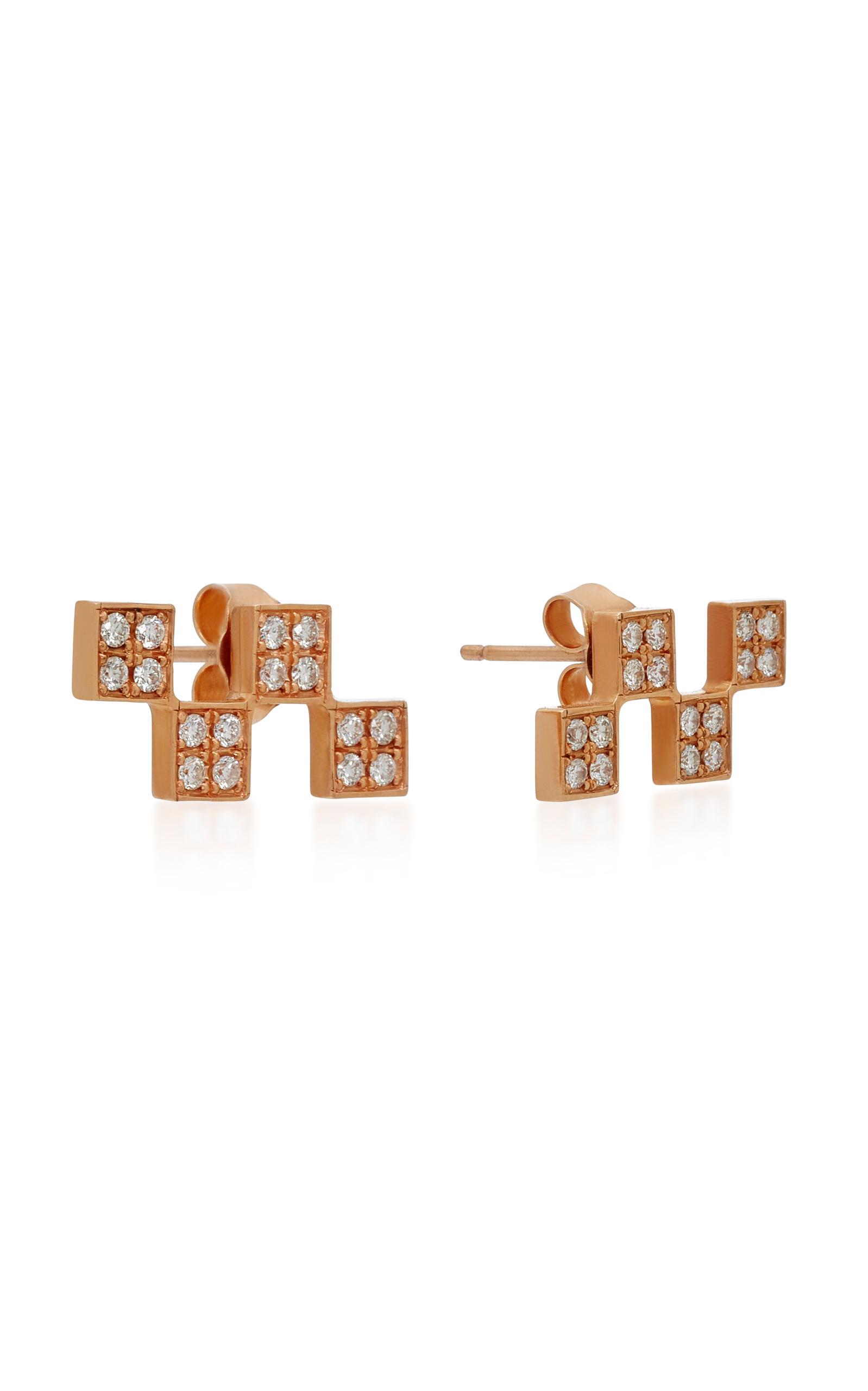 Short Checker 18K Rose Gold Diamond Earrings Established W6MkZVd