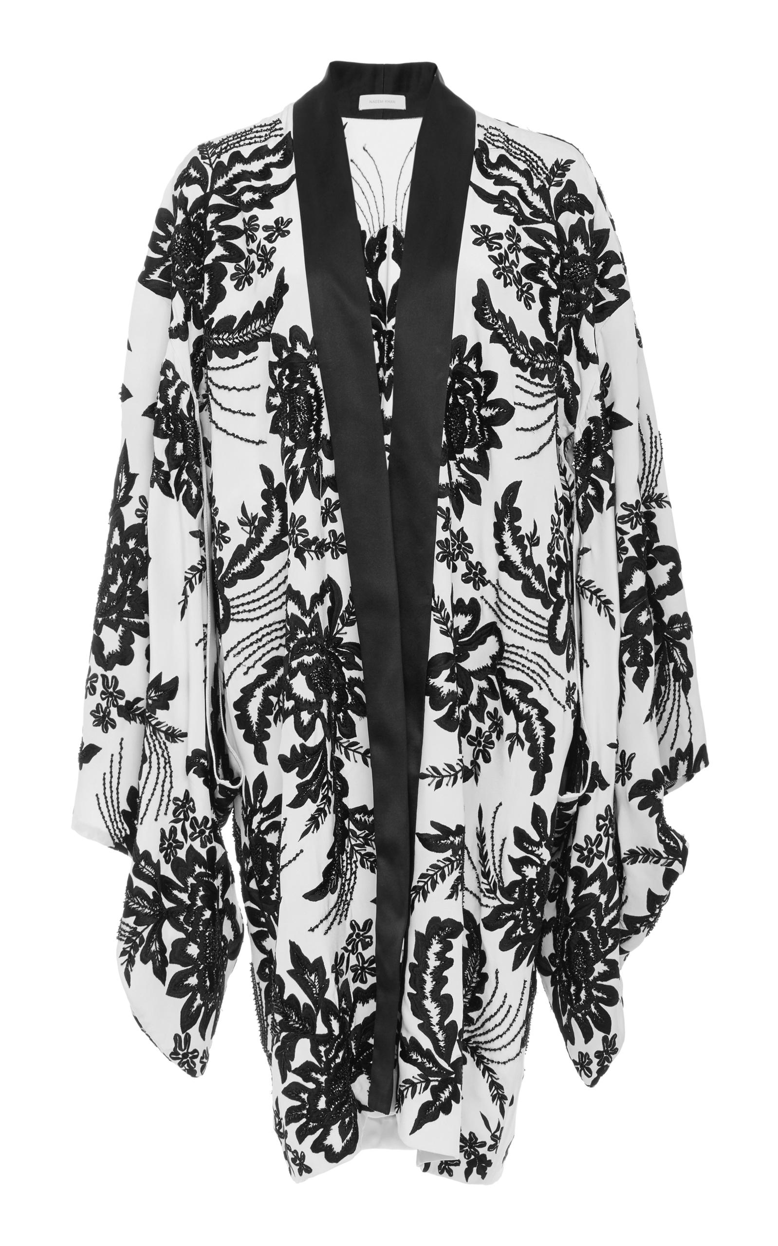 In BlackWhite Jacket Kimono Naeem ModeSens Silk Khan OxHqI1U