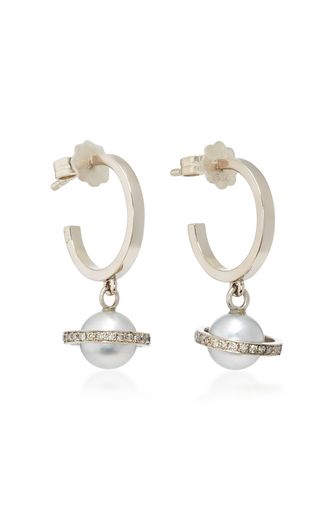 ALINA ABEGG | Alina Abegg Mirco Saturn White Gold Diamond and Pearl Hoops | Goxip