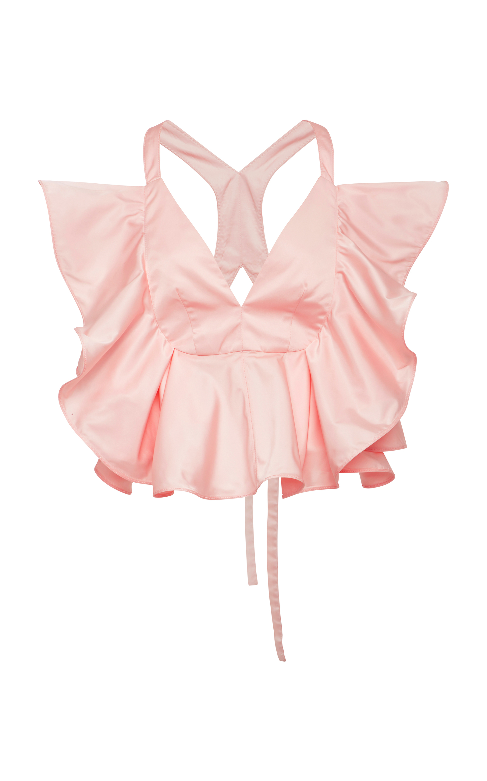 Ruffled Satin Tie-Back Top in Pink
