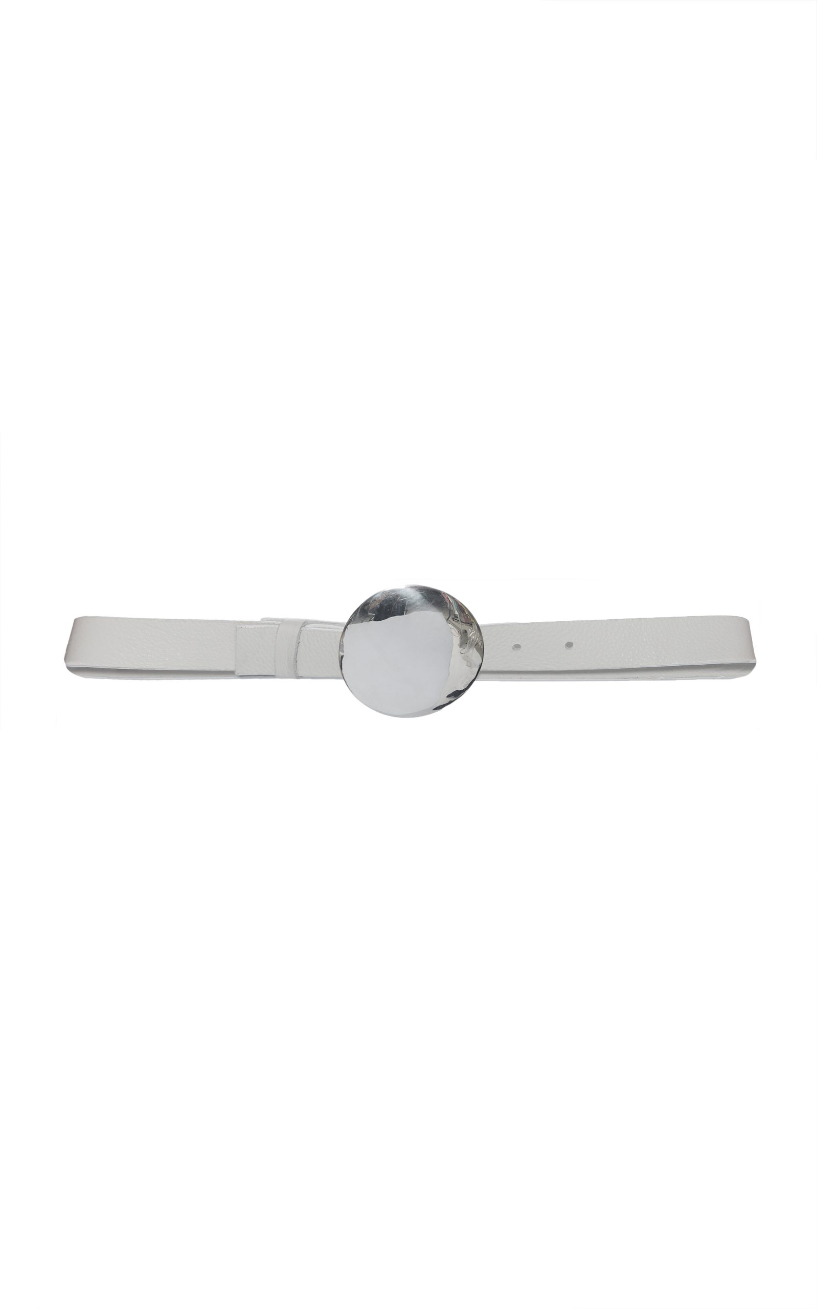 JEFFREY DODD Belt With Polished Silver Buckle in White